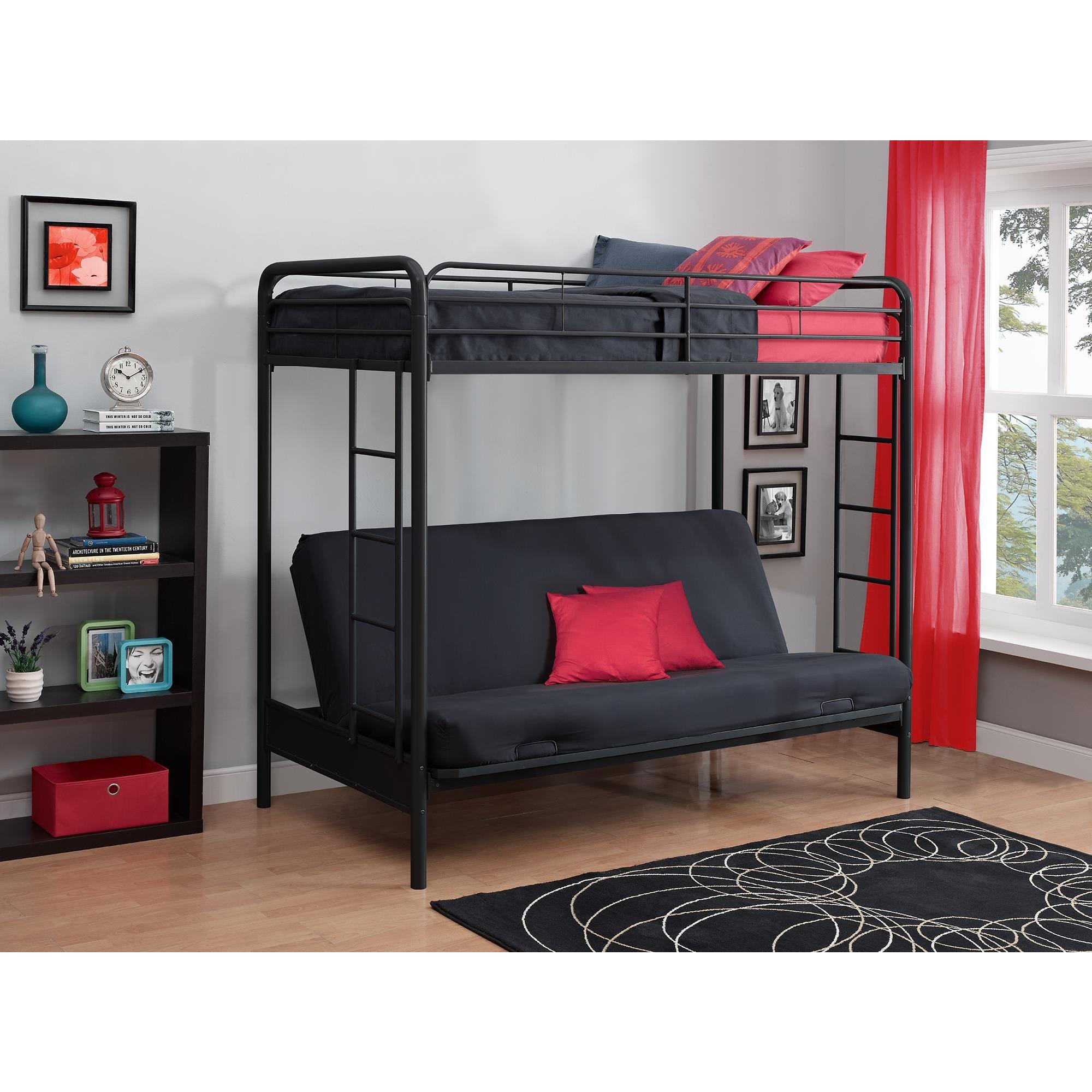 Shop Dhp Twin Over Futon Black Metal Bunk Bed Free Shipping Today
