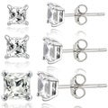 Glitzy Rocks Sterling Silver 2 7/8ct White Topaz Square Stud Earrings (Set of 3)