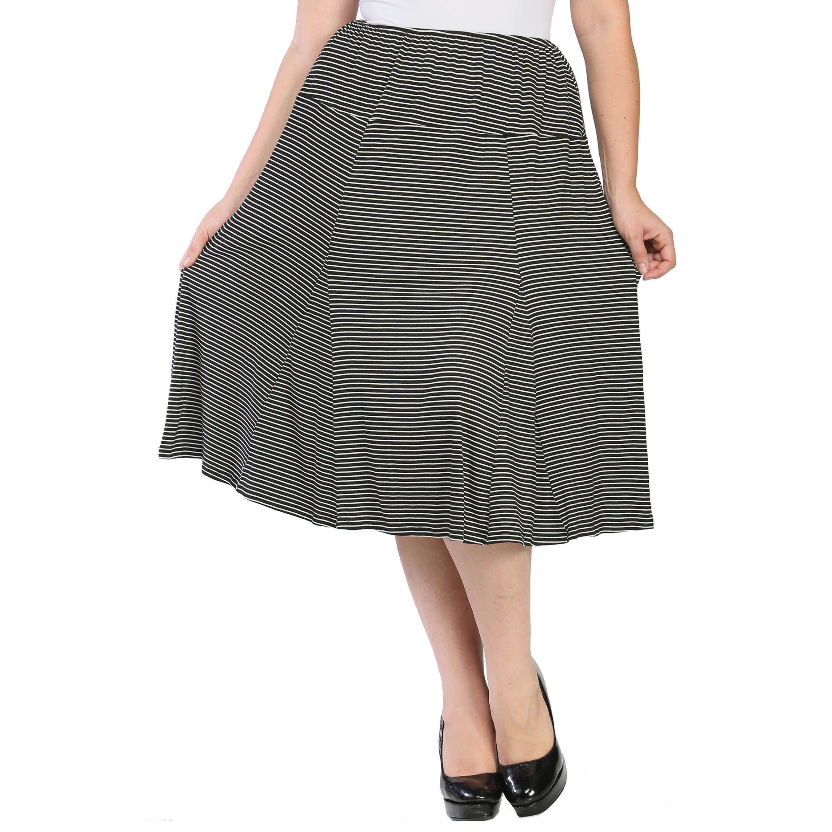 6580d37c9d68 Shop 24/7 Comfort Apparel Women's Plus Size Striped Calf-length Skirt -  Free Shipping On Orders Over $45 - Overstock.com - 9464282