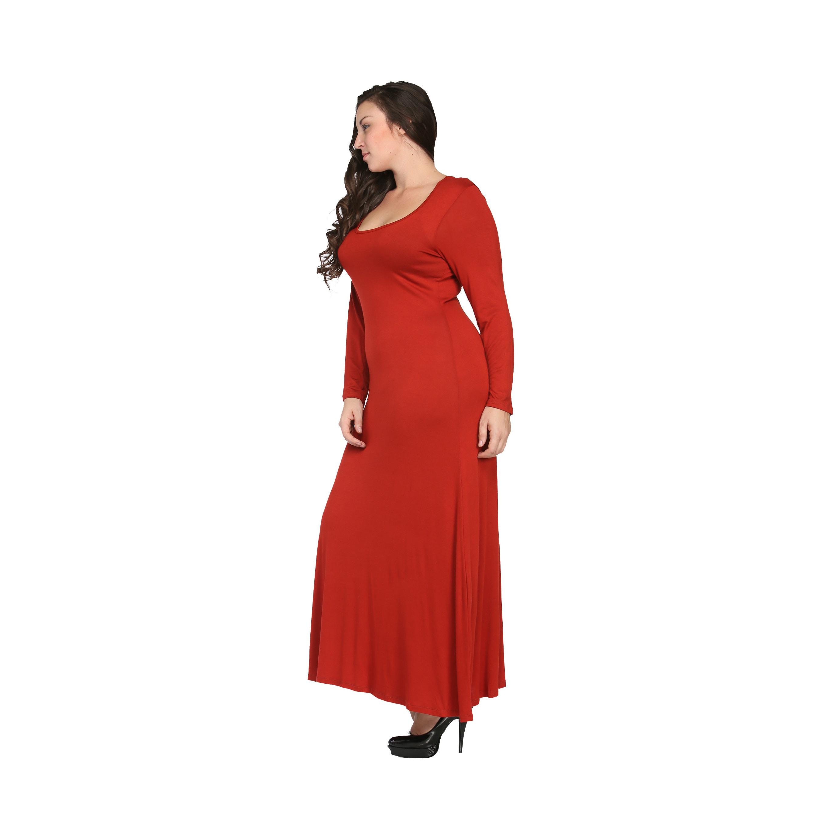 Shop 24/7 Comfort Apparel Women\'s Plus Size Long Sleeve Maxi Dress ...