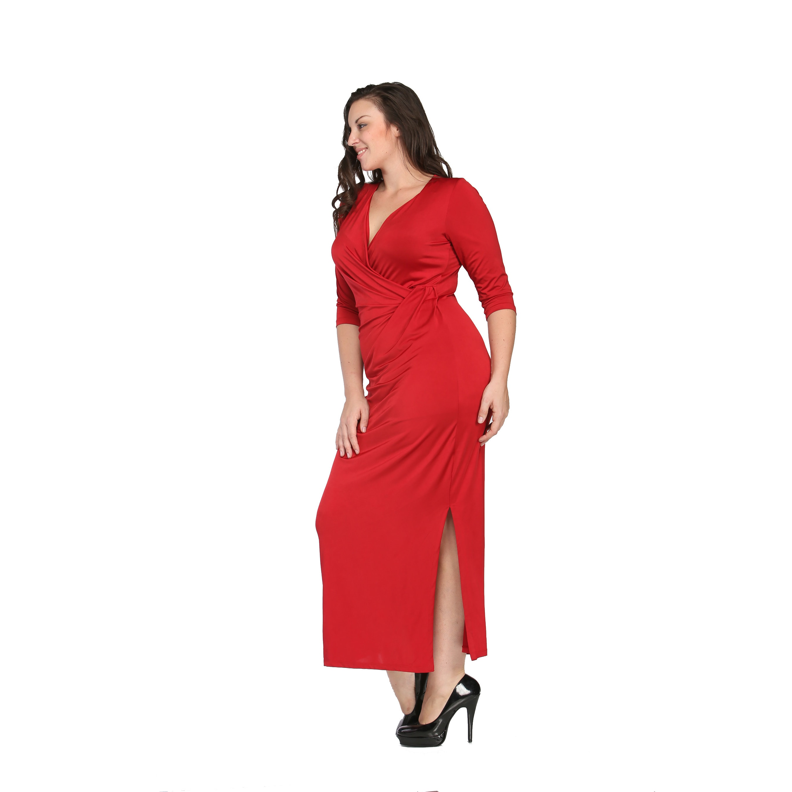 e035e5ffa03 Shop 24 7 Comfort Apparel Women s Plus Size Long V-neck Wrap Dress - On  Sale - Free Shipping On Orders Over  45 - Overstock - 9464349