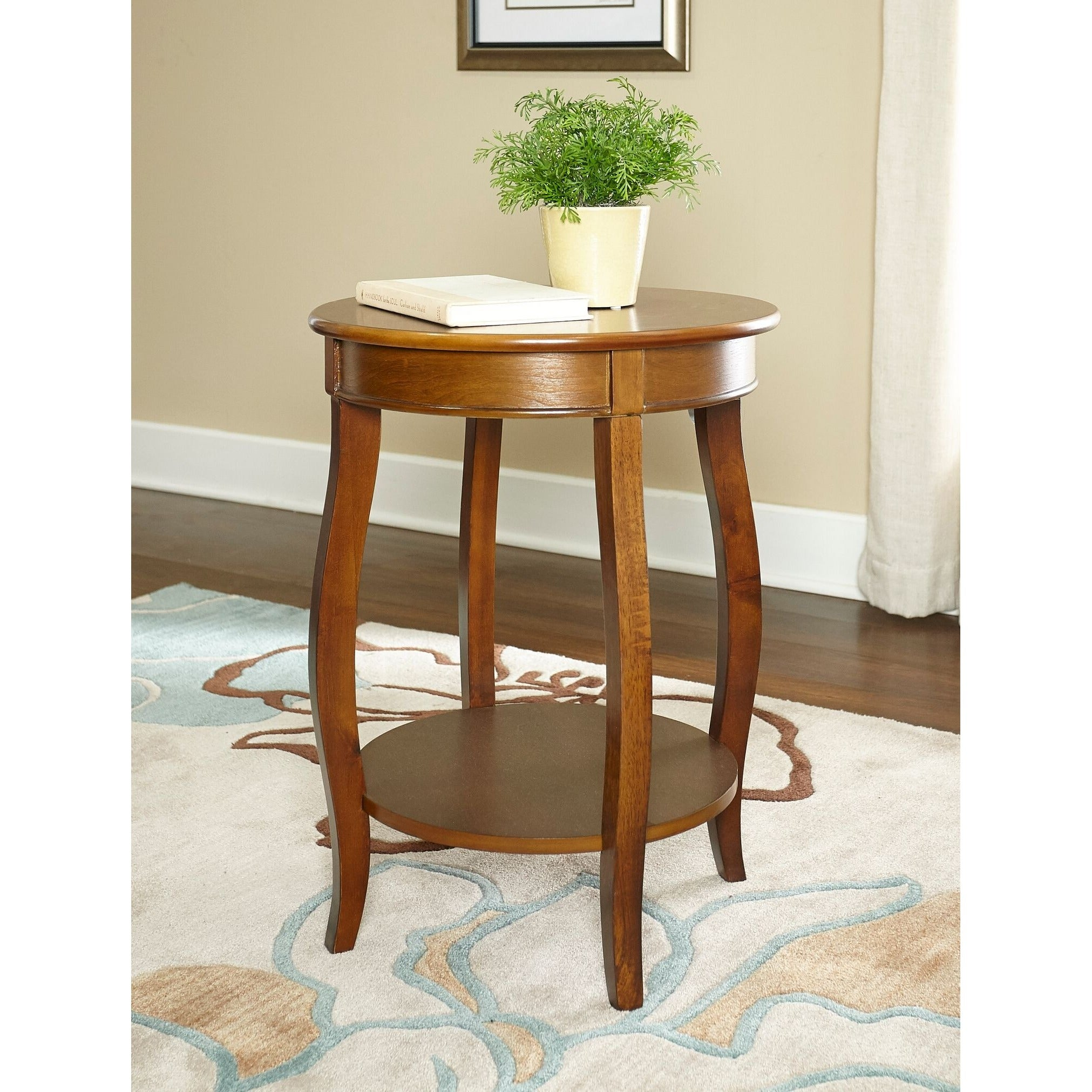 Shop Powell Seaside Hazelnut Round Table With Shelf   On Sale   Free  Shipping Today   Overstock.com   9464402