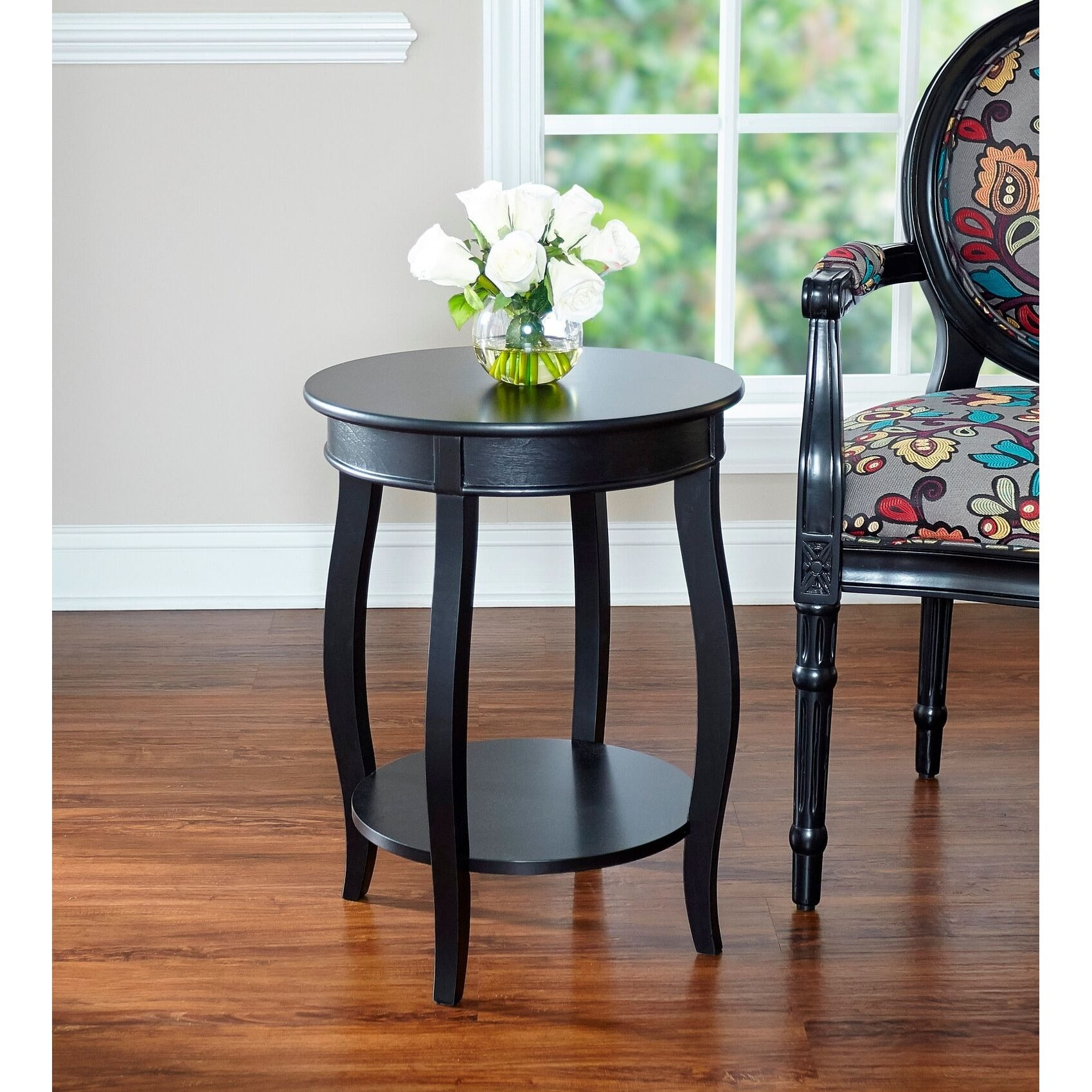 Exceptional Round Table Seaside   Powell Seaside Black Round Table With Shelf   Free Shipping Today    Overstock   16647490