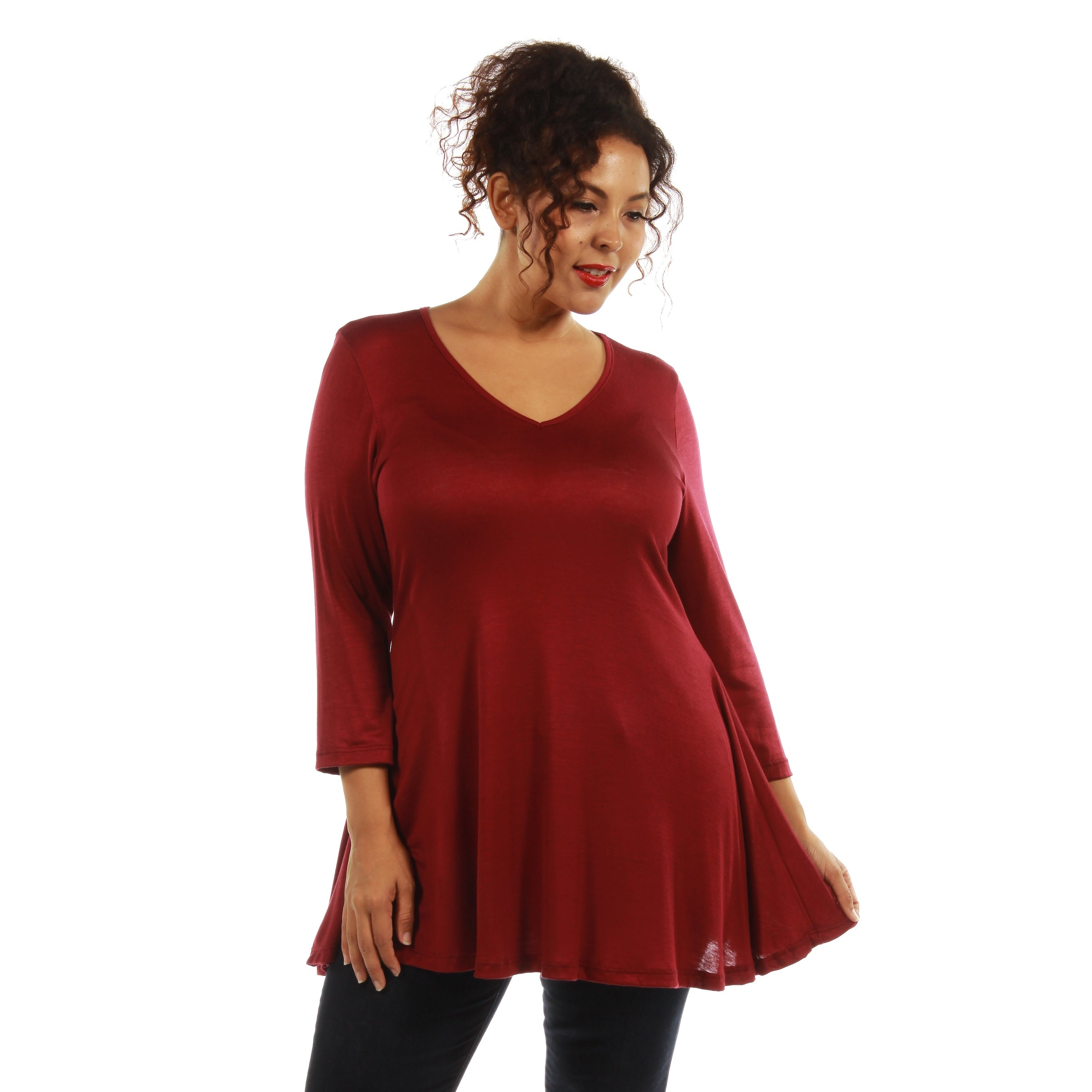 56e1d1a1dd54cb Shop 24 7 Comfort Apparel Women s V-neck Tunic- Plus Size Included - On  Sale - Free Shipping On Orders Over  45 - Overstock - 9464431