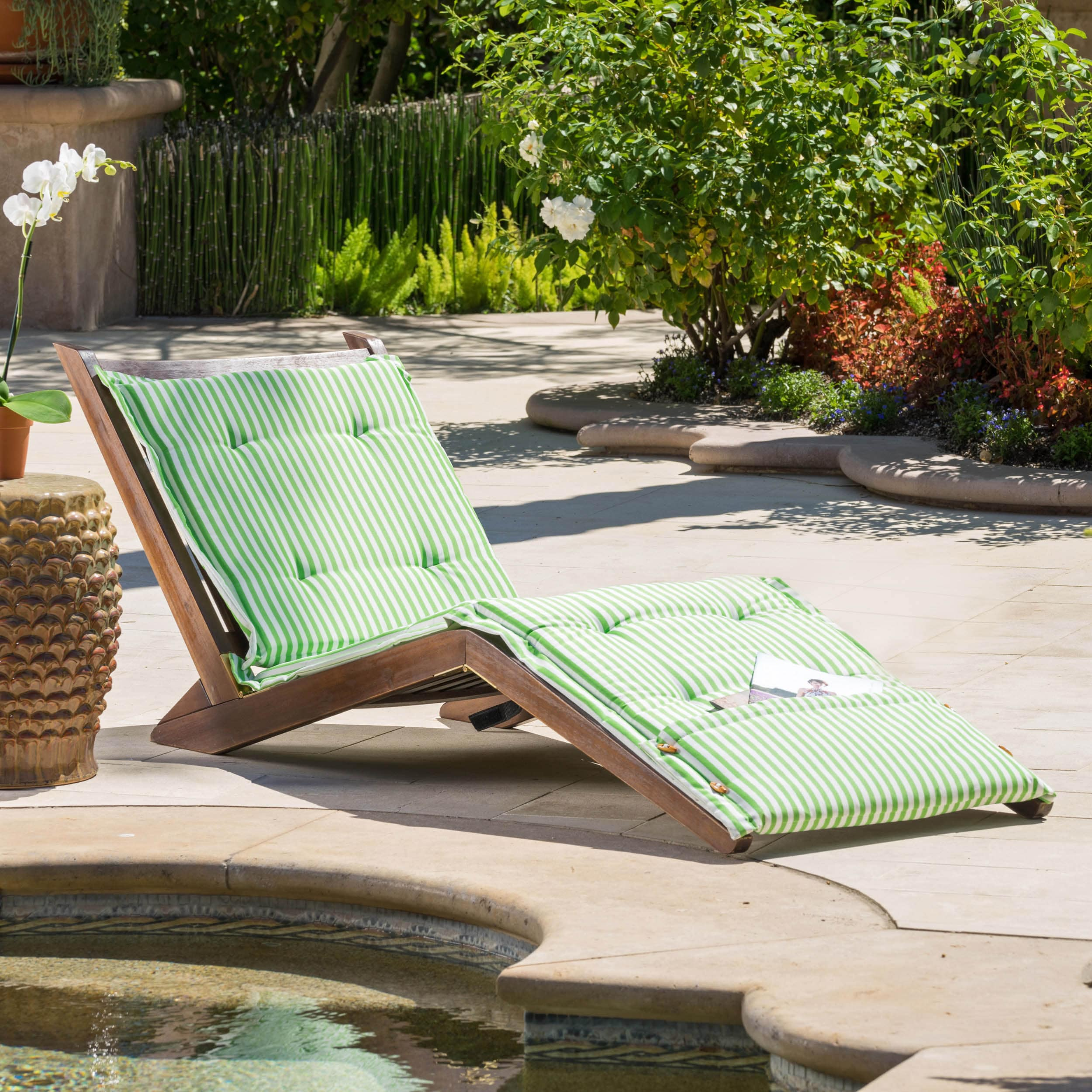 Sonora Wood Folding Lounger with Cushion by Christopher Knight