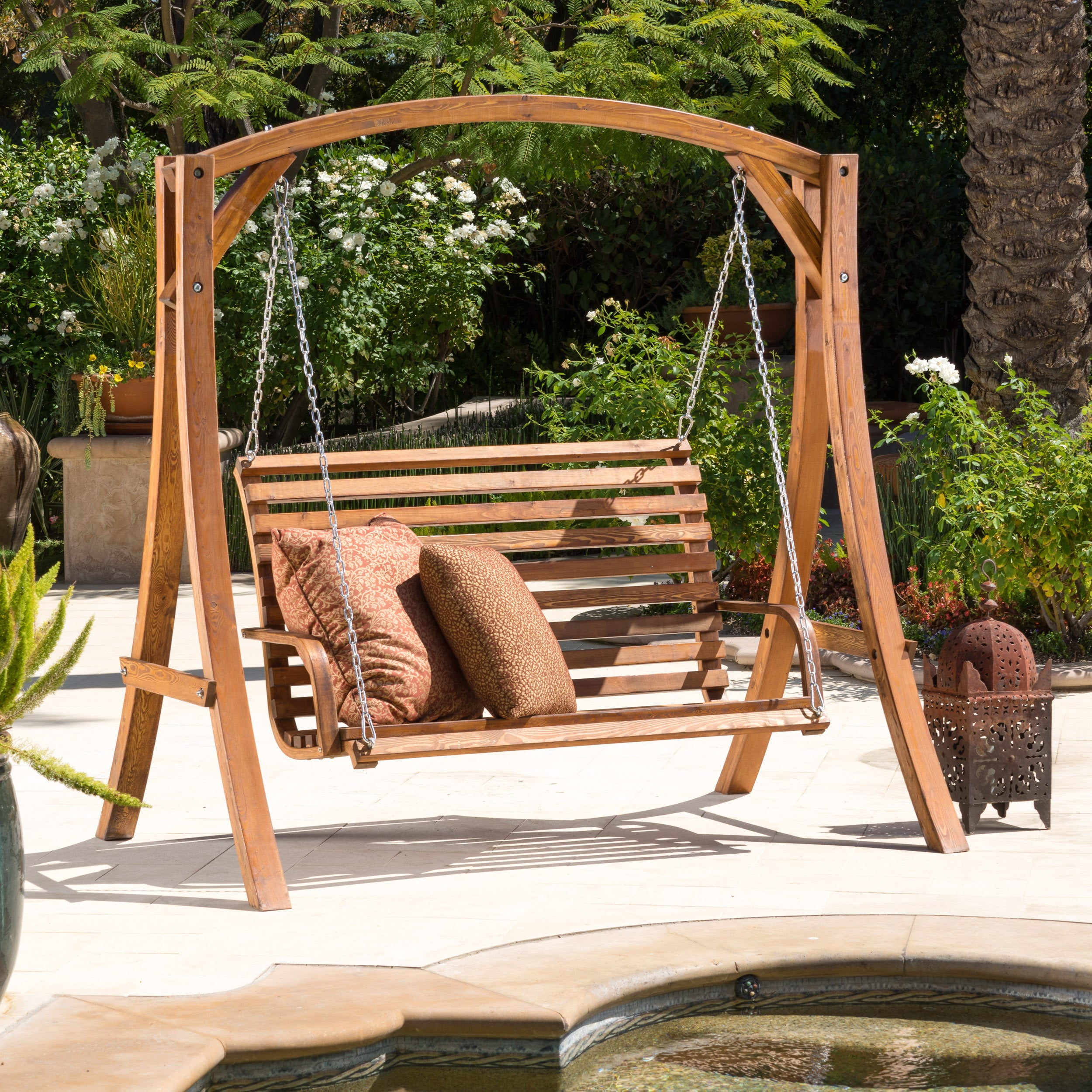 Shop Christopher Knight Home Tulip Outdoor Wood Swinging Loveseat ...