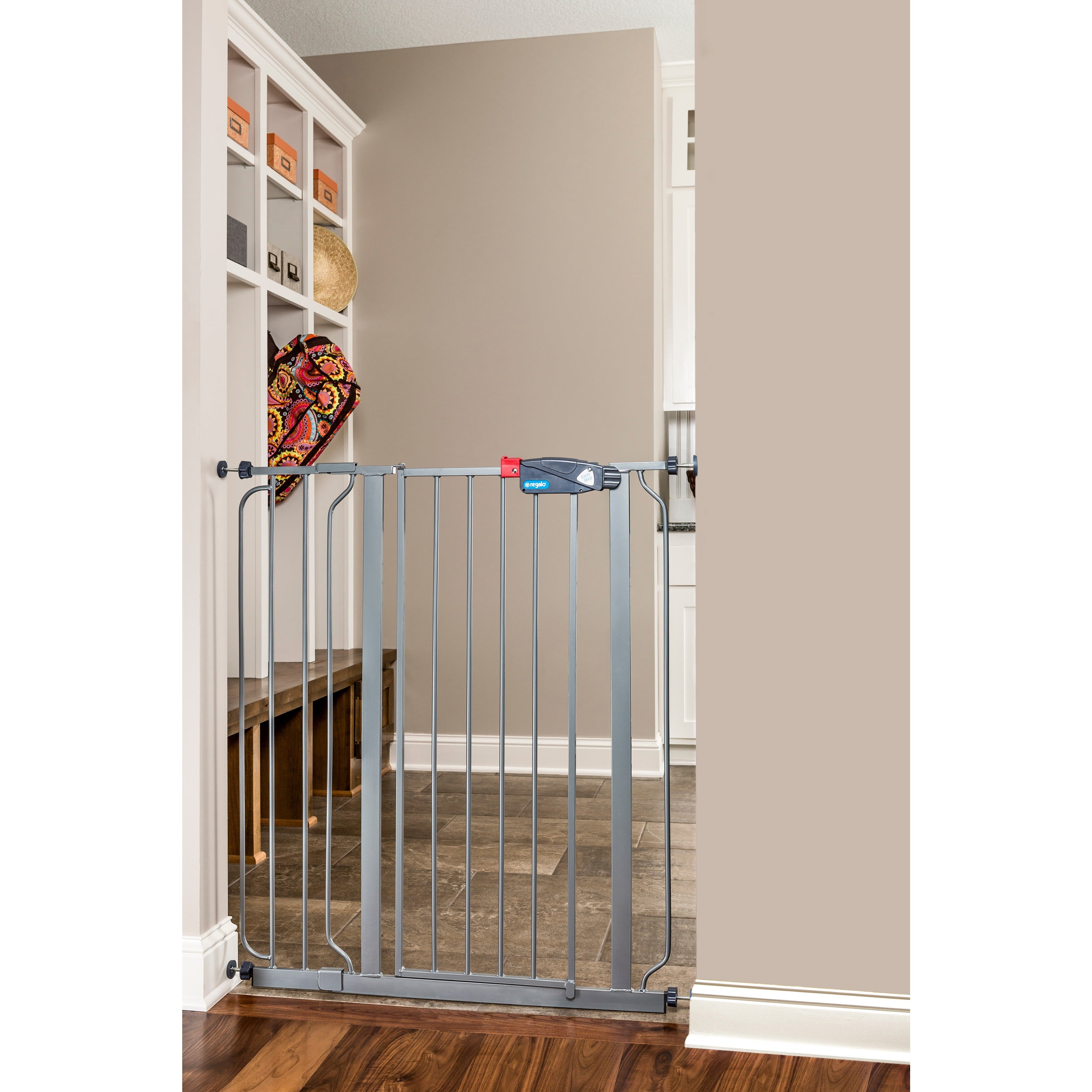 Regalo Deluxe Easy Step Extra Tall Platinum Gate   Free Shipping Today    Overstock   16649414