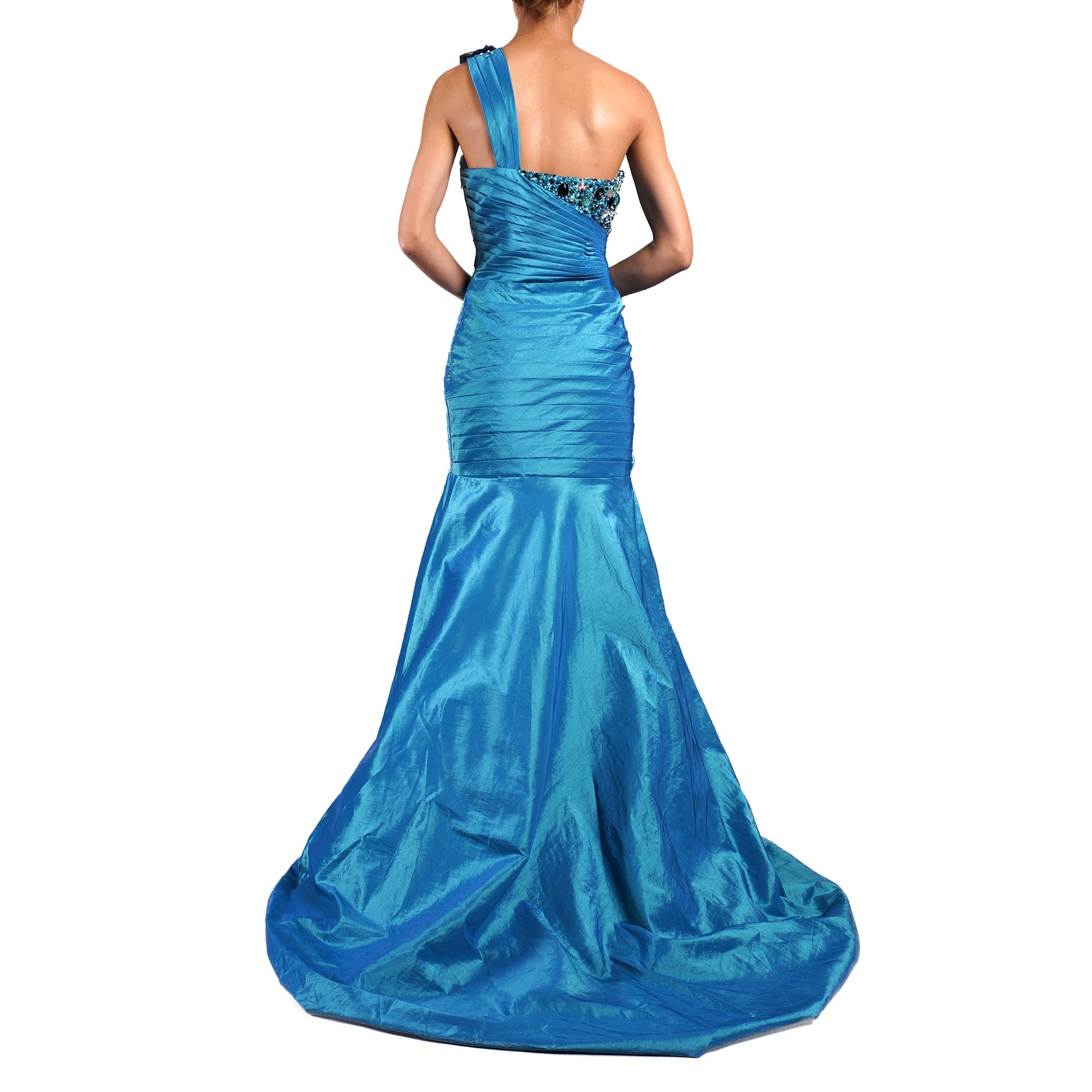 Shop DFI Women\'s Mermaid with Rosette and Chunky Bead Evening Gown ...
