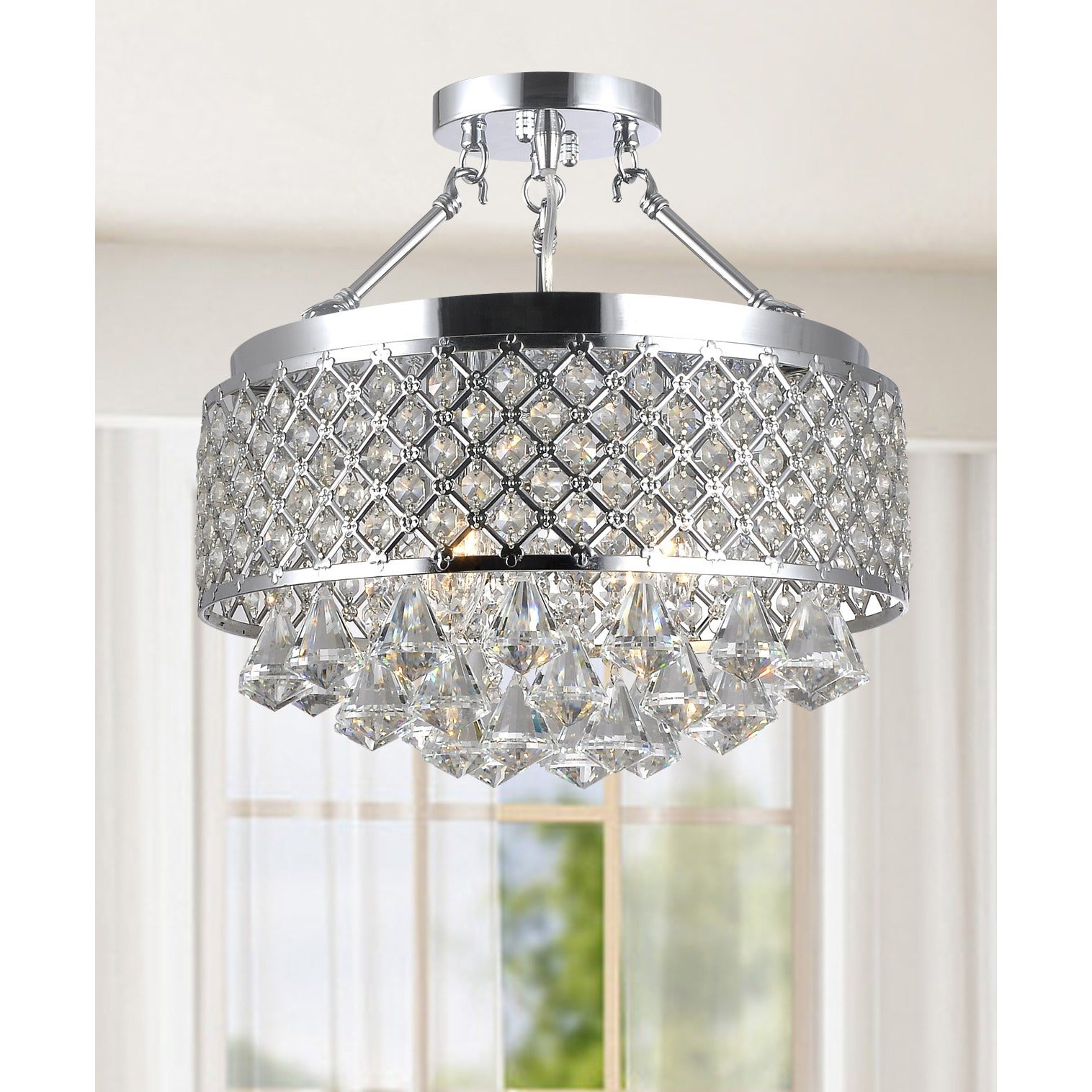 Silver Orchid Taylor Chrome and Crystal Semi Flush Mount