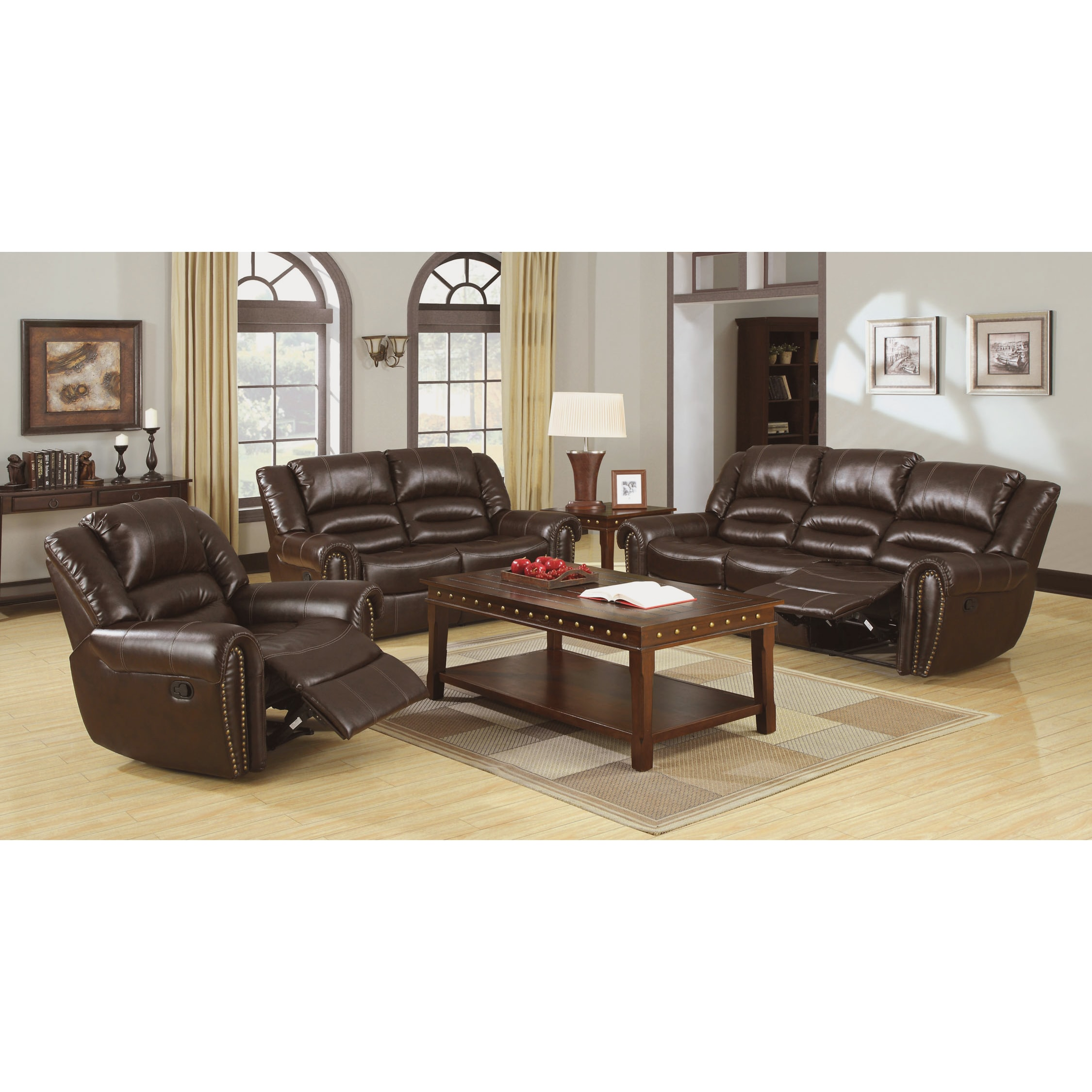 Furniture Of America Harv 2 Piece Brown Bonded Leather Sofa Set Free Shipping Today 9466856