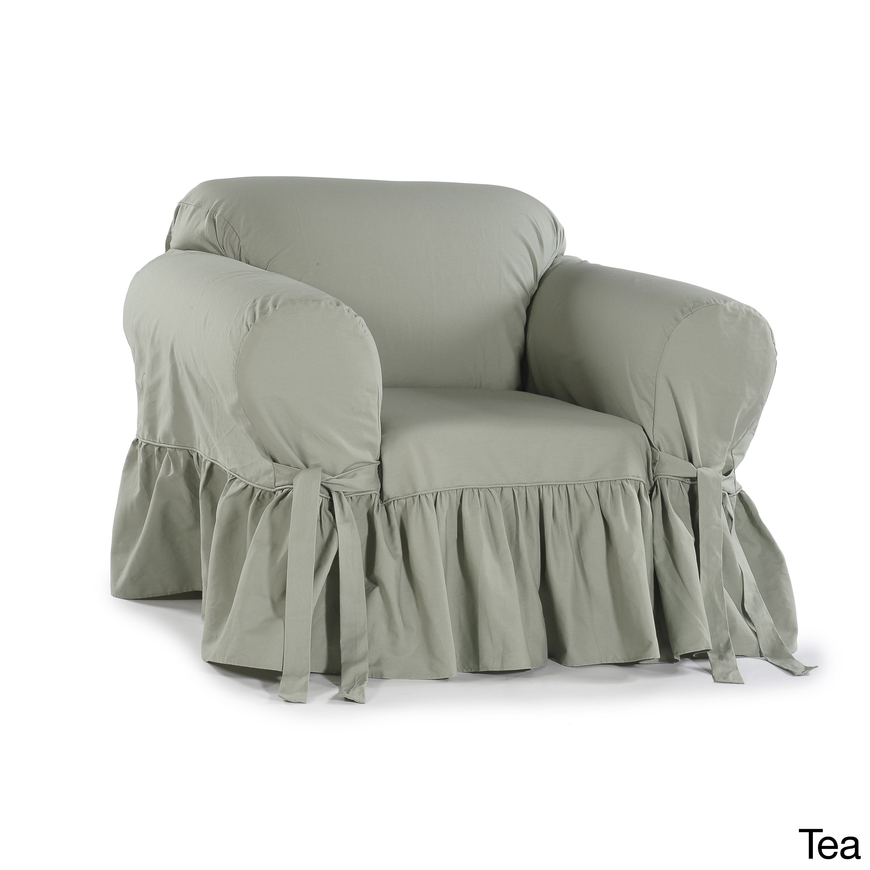 Ruffled Cotton Arm Chair Slipcover   Free Shipping Today   Overstock.com    16650049