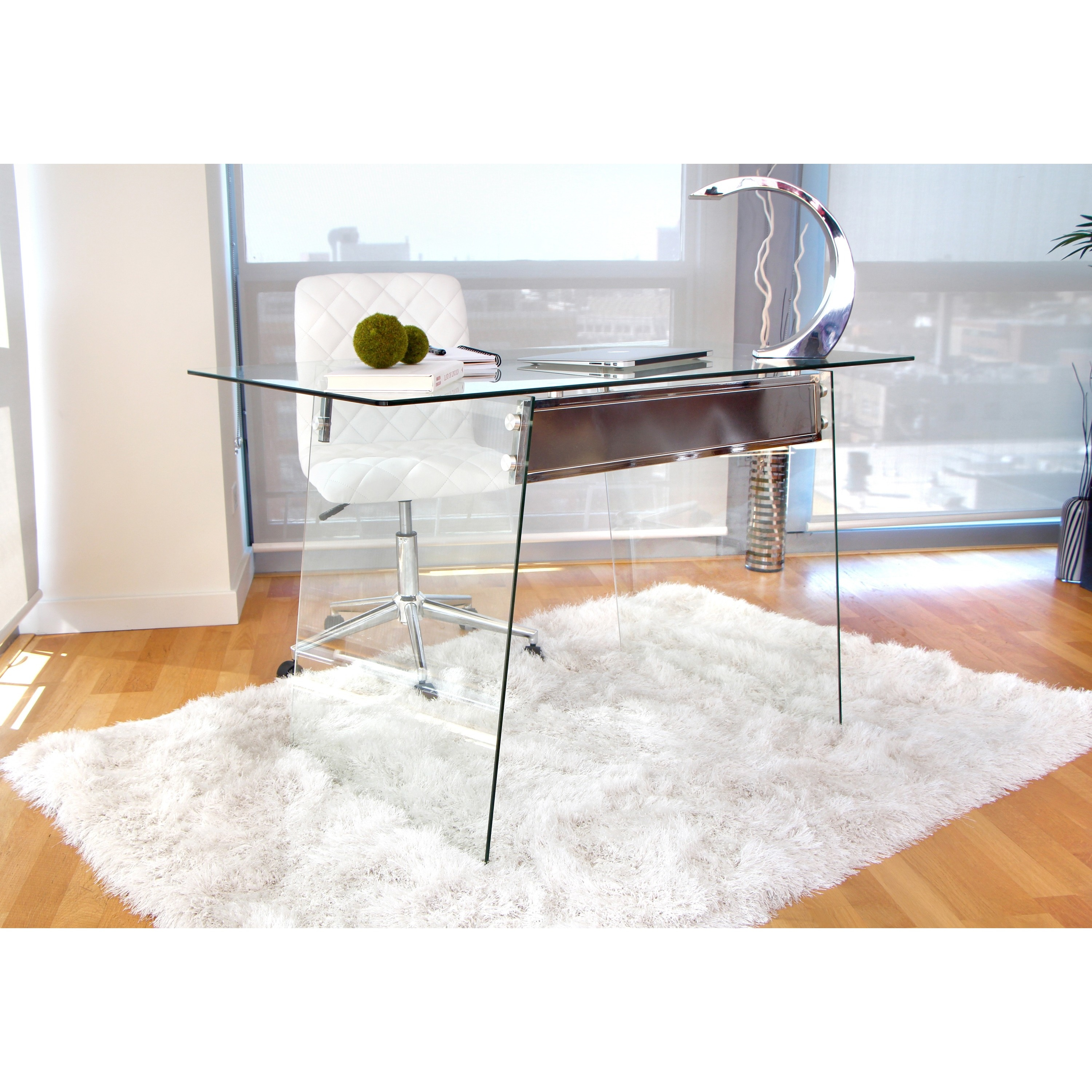 Shop Glacier Modern Glass Home Office Desk   Free Shipping Today    Overstock.com   9467879