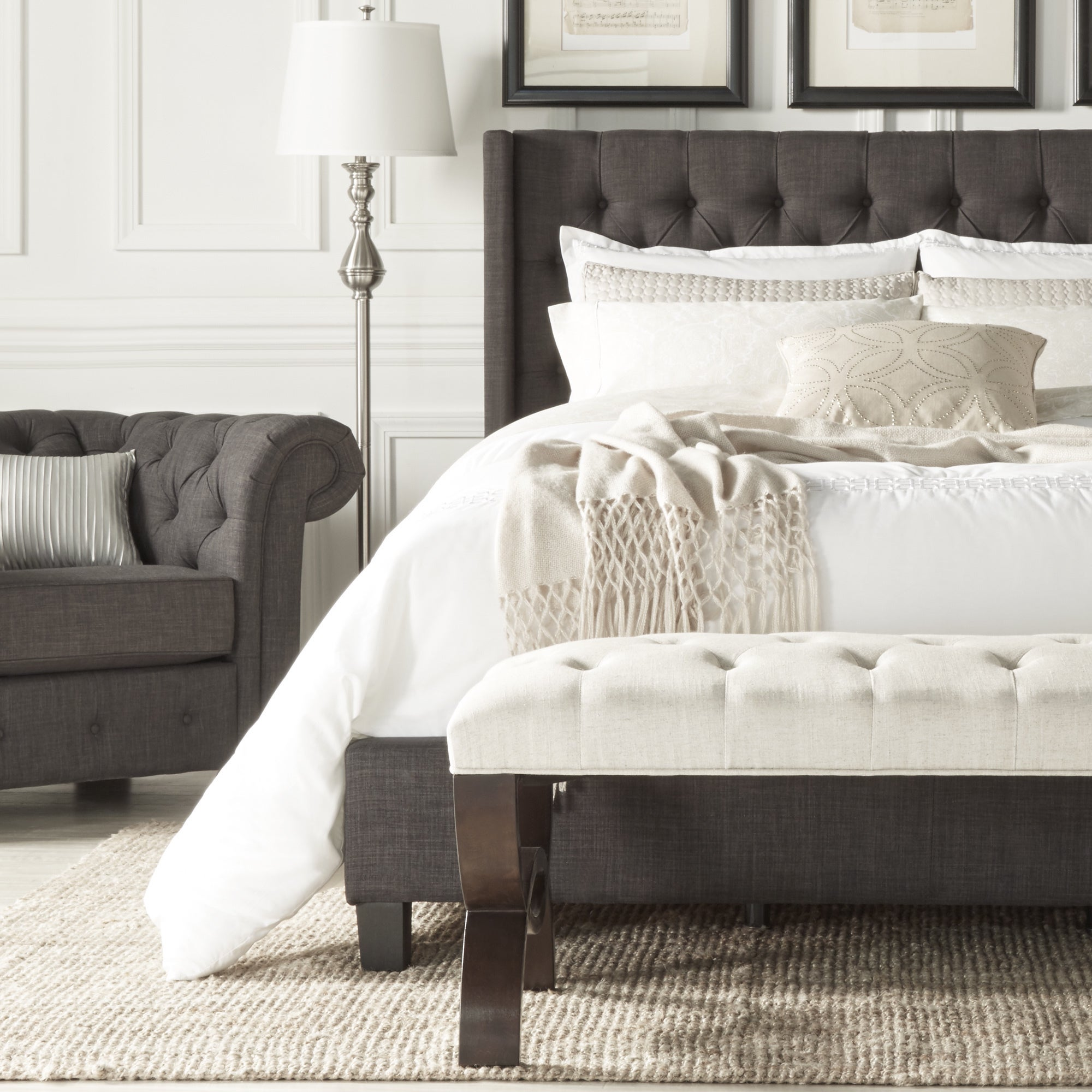 Shop Naples Wingback Button Tufted Upholstered King Bed by iNSPIRE Q ...