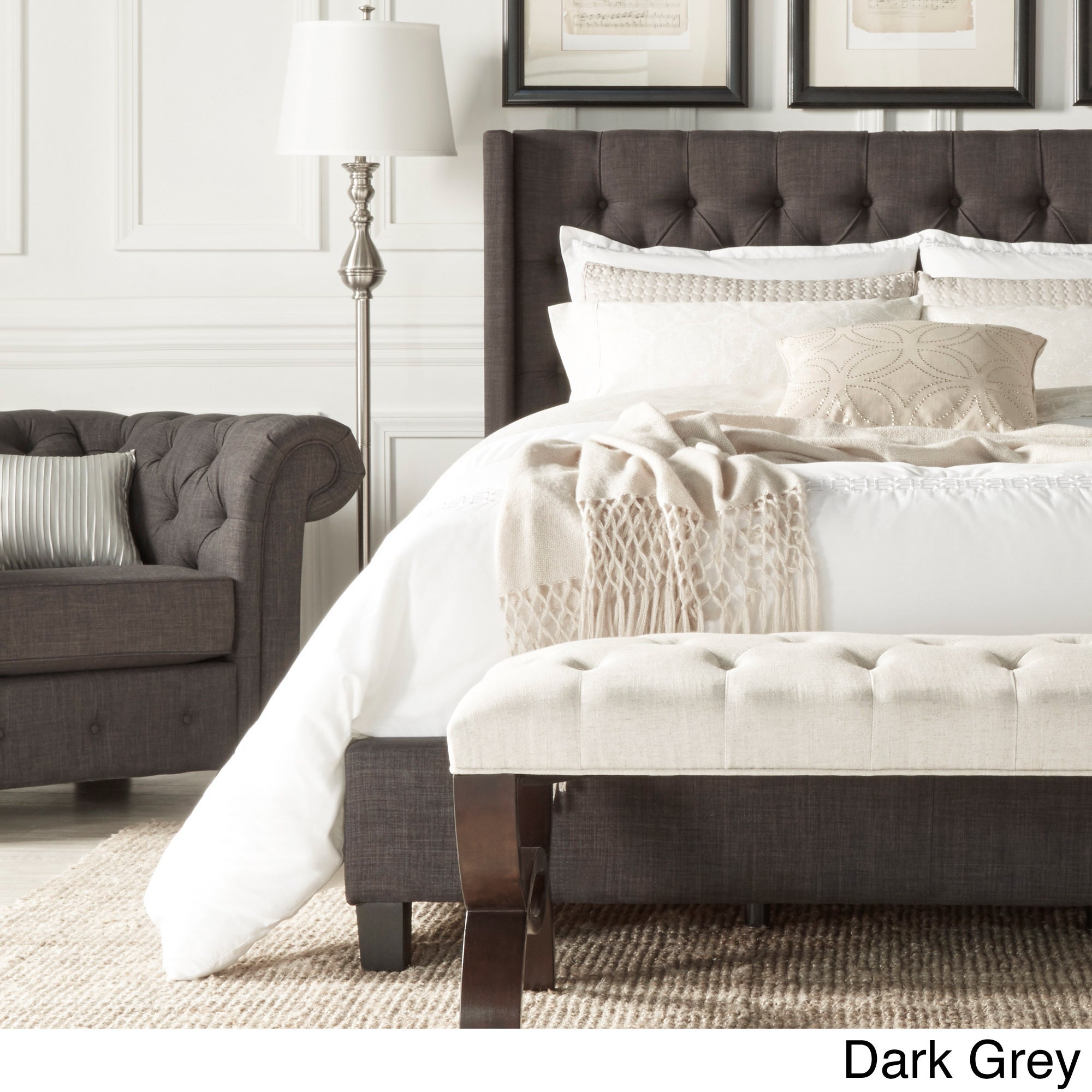 Naples Wingback Button Tufted Upholstered Queen Size Bed by iNSPIRE Q  Artisan - Free Shipping Today - Overstock.com - 16659700