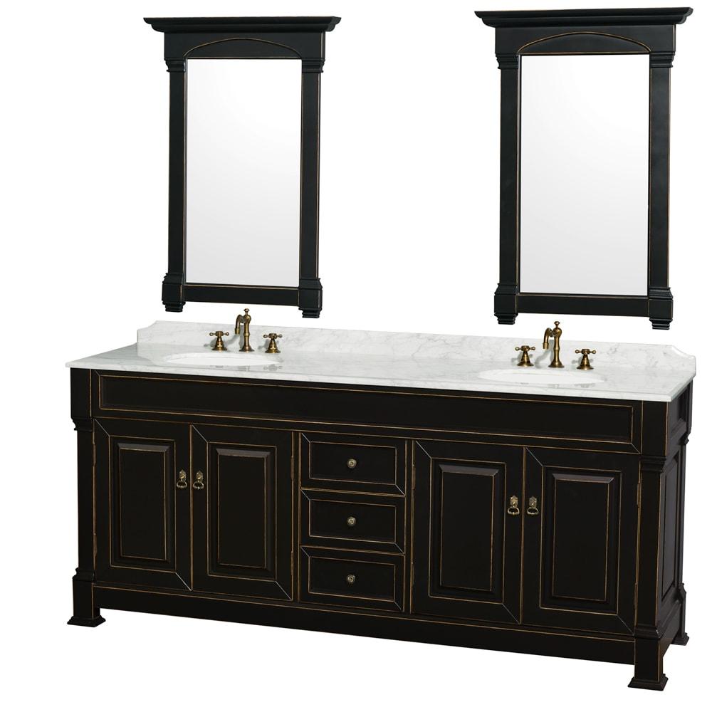 Shop Andover Black 80 inch Double Bathroom Vanity