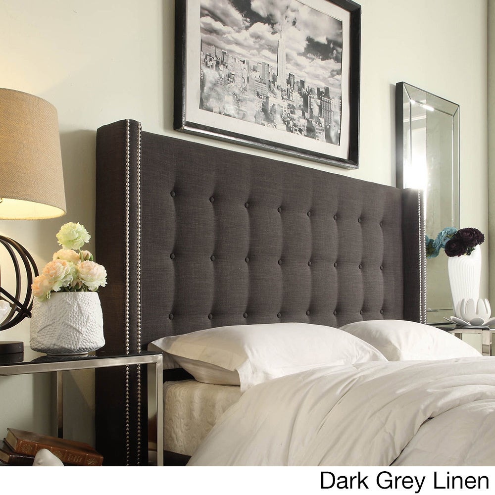 Marion Nailhead Wingback Tufted King Size Headboard by iNSPIRE Q Bold -  Free Shipping Today - Overstock.com - 16659689
