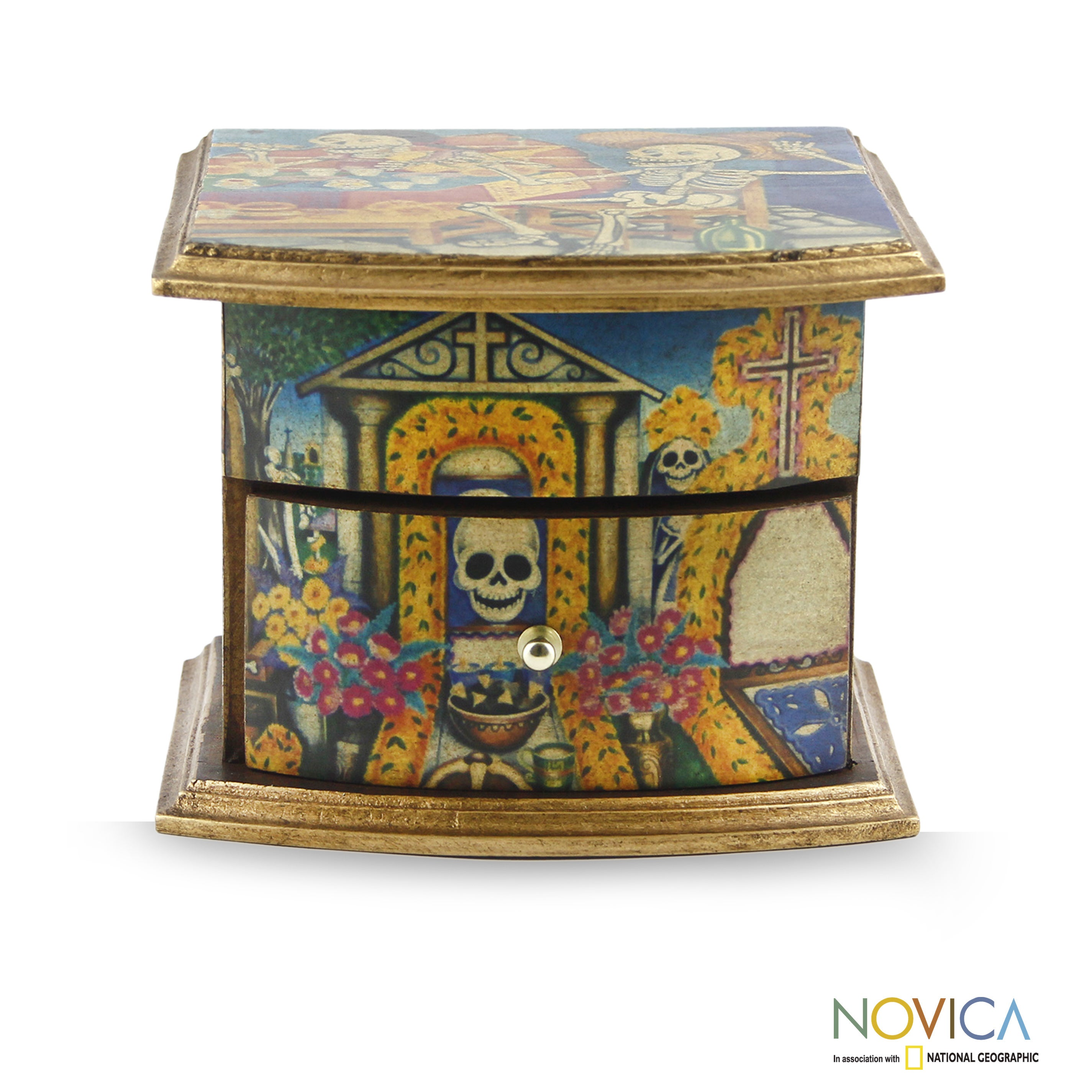 Handmade Pinewood Day Of The Dead Celebrations Decoupage Jewelry Box Mexico