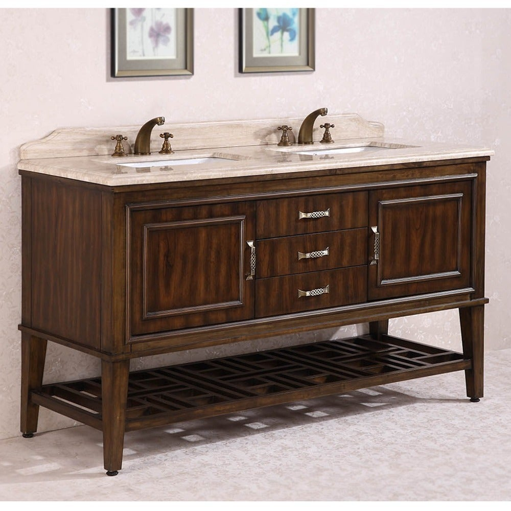 Legion Furniture Travertine Top 65 Inch Double Sink Bathroom Vanity In Walnut Finish Free Shipping Today 9481256