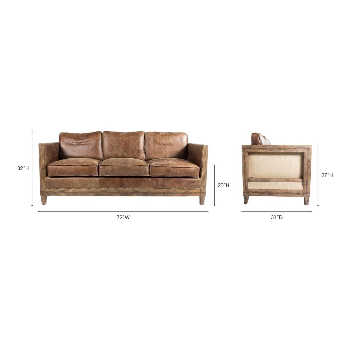 Aurelle Home Monarchy Rustic Distressed Leather Sofa On Free Shipping Today 9487380