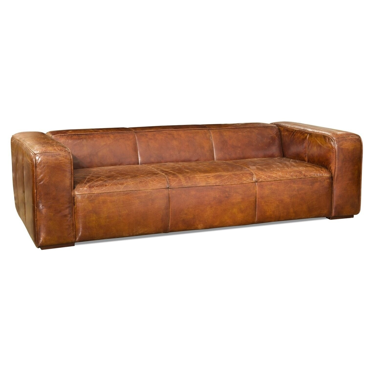 Shop Aurelle Home Vintage Dark Brown Top Grain Leather Sofa - Free ...