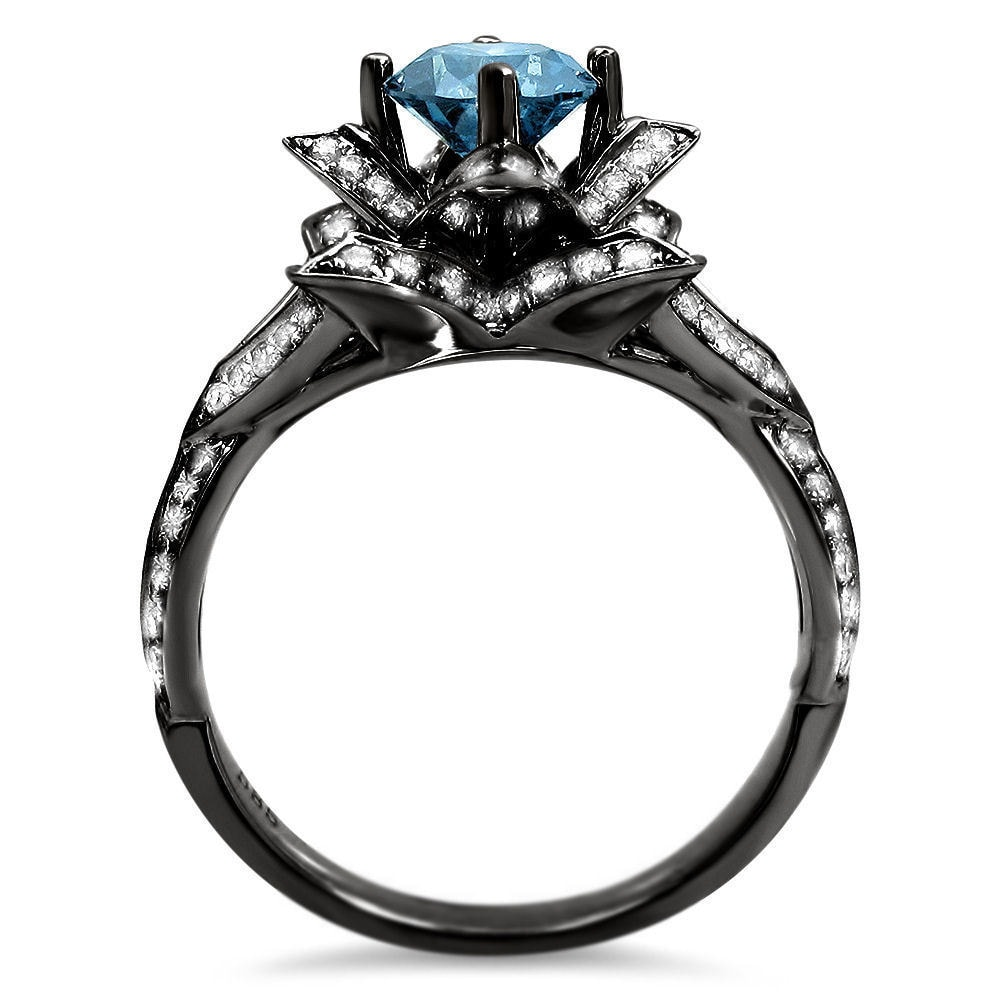Shop Noori 14k Black Gold 2ct Blue Round Diamond Lotus Flower