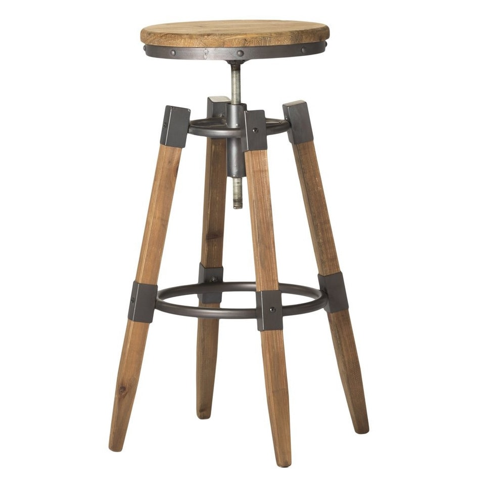 Perfect Aurelle Home Industrial Wood And Iron Adjustable Bar Stool   Free Shipping  Today   Overstock   16669261