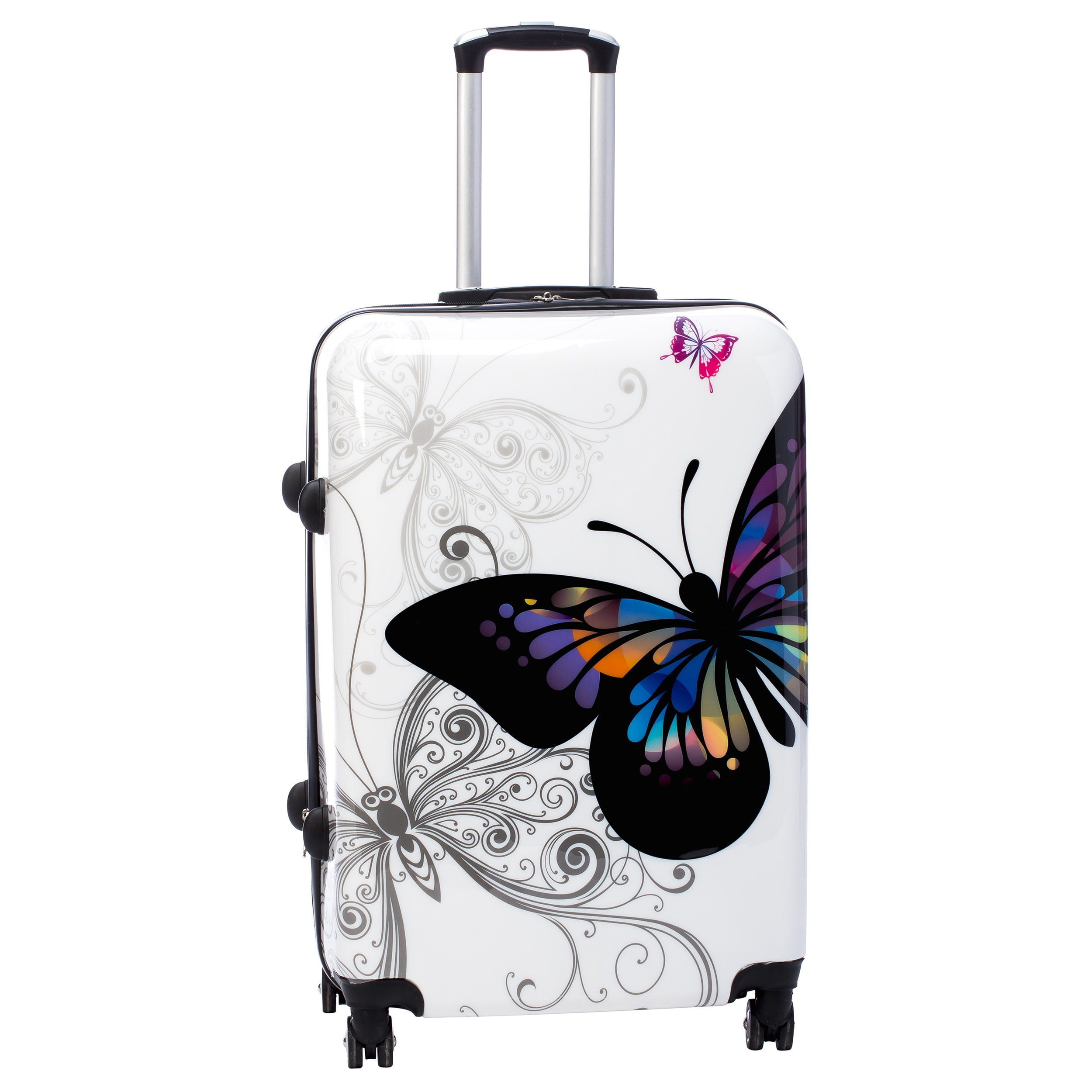 4f7bac6b69ac Shop World Traveler Butterfly 4-piece Hardside Spinner Luggage Set with TSA  Lock - Free Shipping Today - Overstock - 9489544
