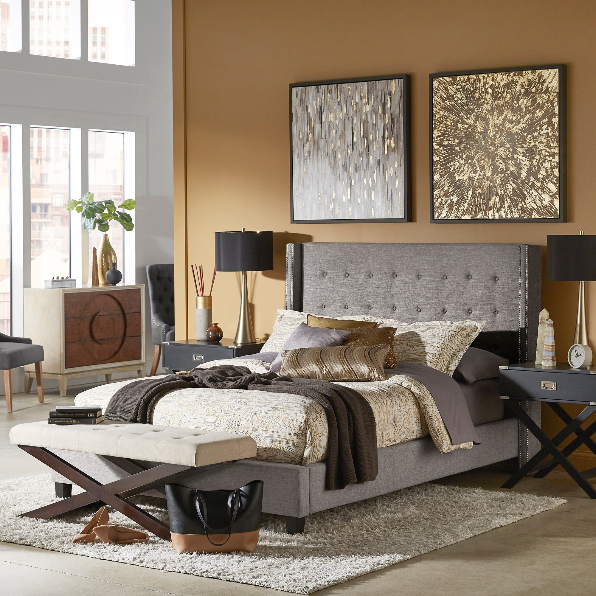 Shop Marion Nailhead Wingback Tufted Upholstered Platform Bed By Inspire