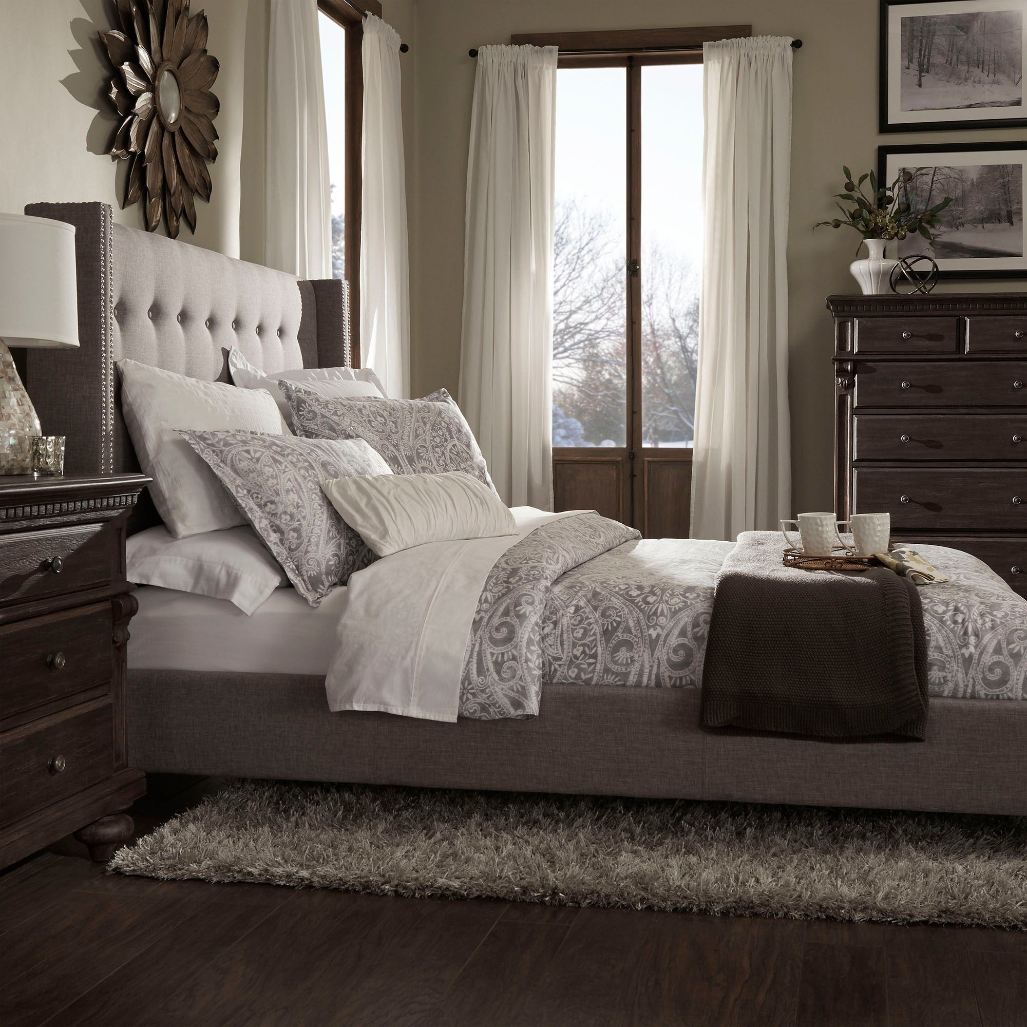 Marion Nailhead Wingback Tufted Upholstered King Bed by iNSPIRE Q Bold -  Free Shipping Today - Overstock.com - 16672219