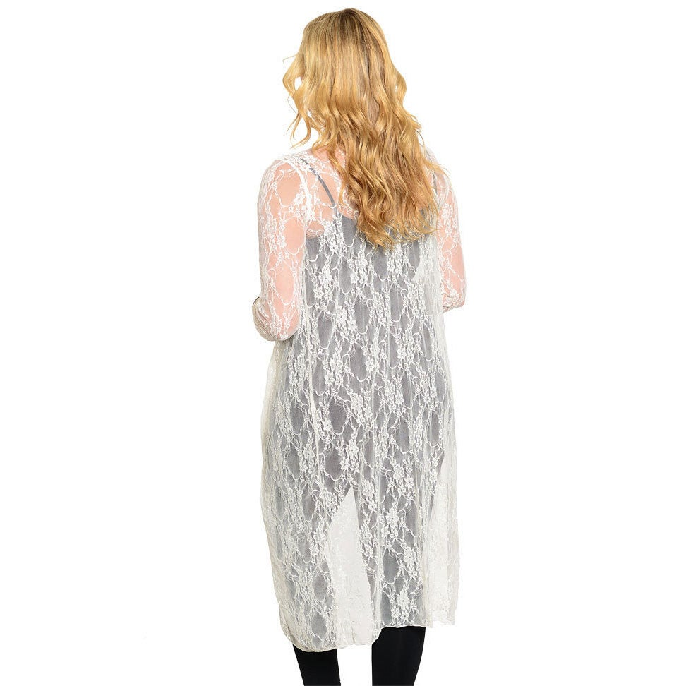 f344e31f0bb Shop Stanzino Women s Plus-size Long-sleeve Lace Cardigan - Free Shipping  On Orders Over  45 - Overstock - 9494839
