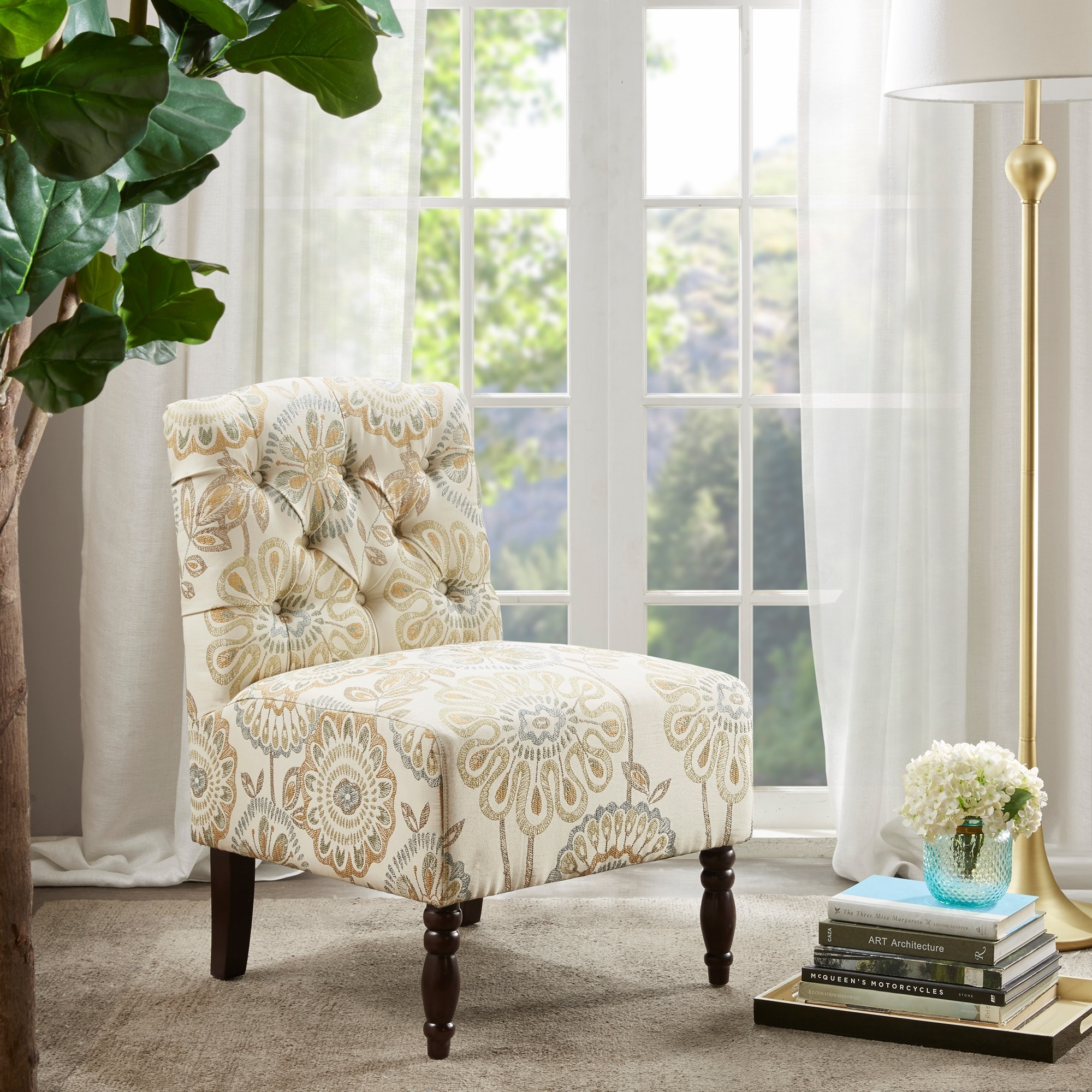 Madison Park Lola Tufted Armless Chair - Free Shipping Today ...