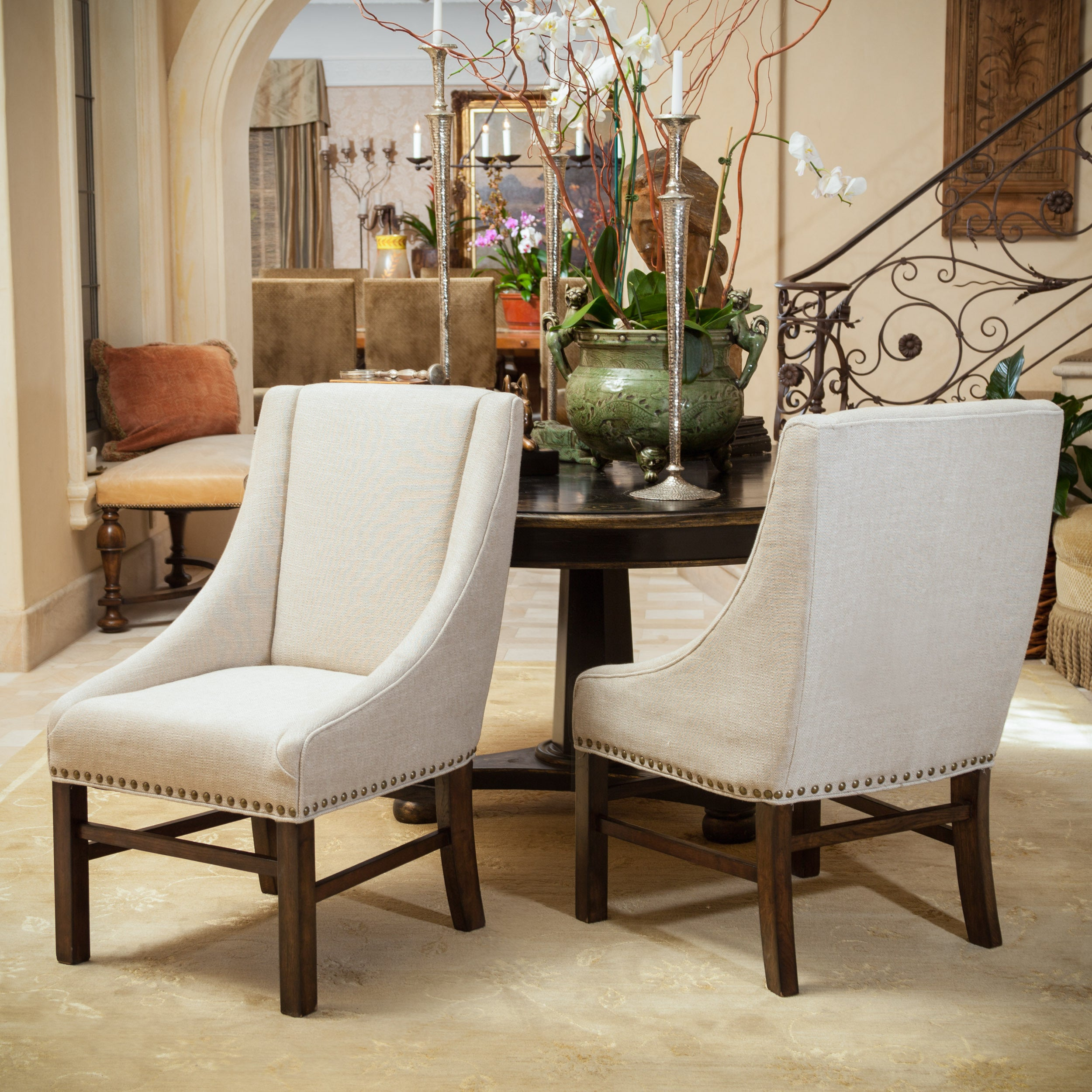 Shop James Fabric Dining Chair (Set Of 2) By Christopher Knight Home   On  Sale   Free Shipping Today   Overstock.com   9495612