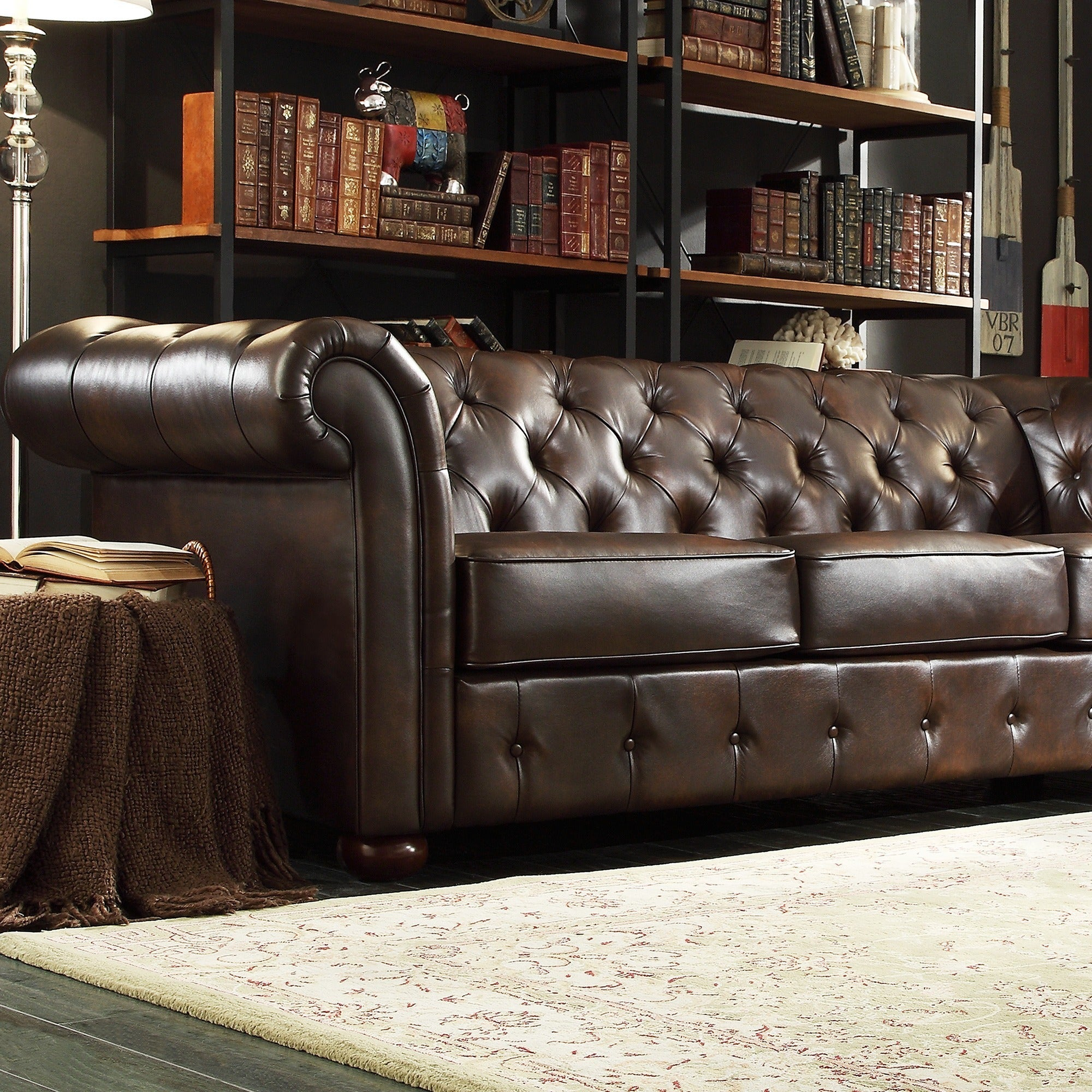 Knightsbridge Brown Bonded Leather Tufted Scroll Arm Chesterfield Sofa by  iNSPIRE Q Artisan - Free Shipping Today - Overstock.com - 16678142