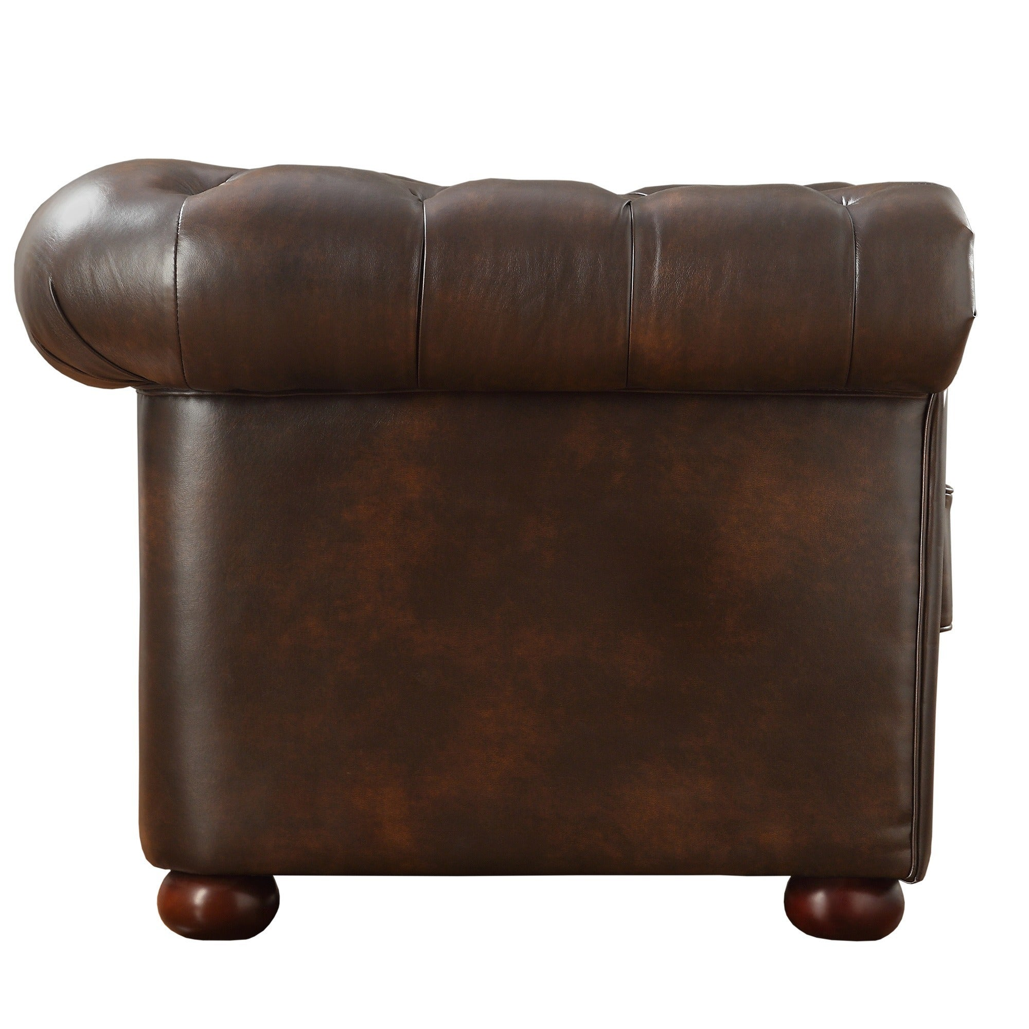 Knightsbridge Brown Bonded Leather Tufted Scroll Arm Chesterfield  ~ Chesterfield Brown Sofa