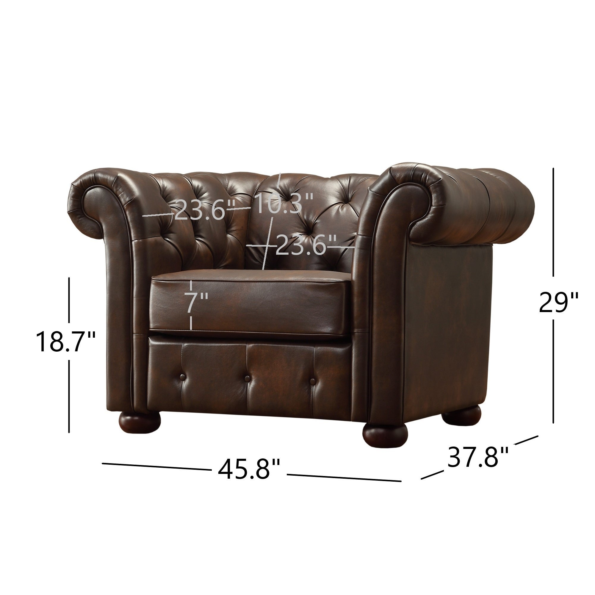 Attrayant Shop Knightsbridge Brown Bonded Leather Tufted Scroll Arm Chesterfield Chair  By INSPIRE Q Artisan   On Sale   Free Shipping Today   Overstock   9497908