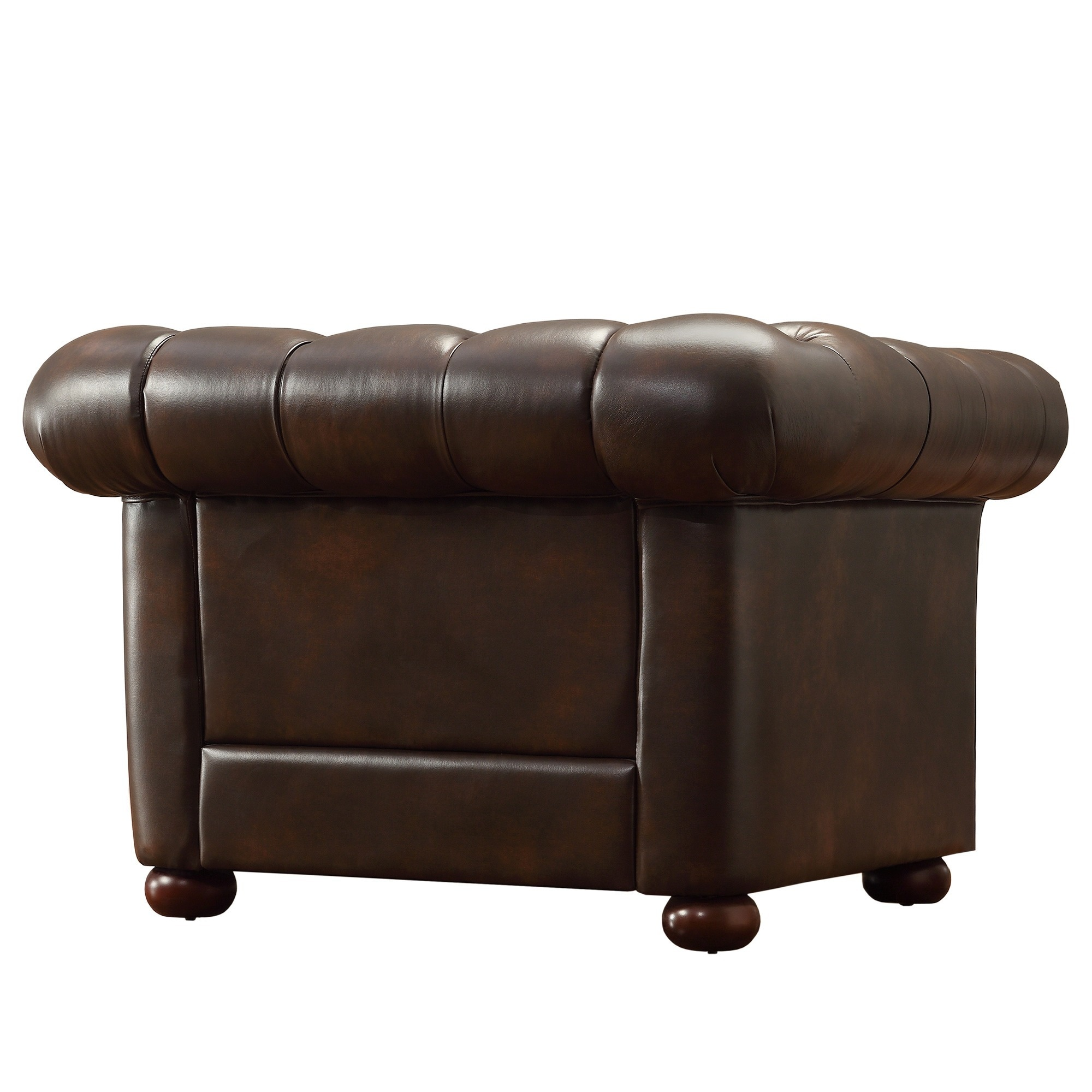 Bon Shop Knightsbridge Brown Bonded Leather Tufted Scroll Arm Chesterfield Chair  By INSPIRE Q Artisan   On Sale   Free Shipping Today   Overstock.com    9497908