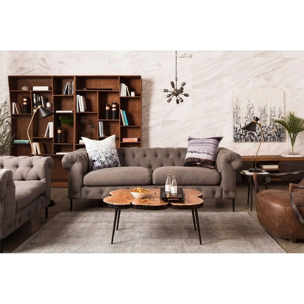 Shop Aurelle Home Grey Modern Chesterfield Sofa - On Sale - Free ...