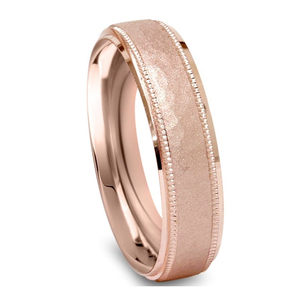 14k Rose Gold Men S 6mm Hammered Wedding Band Free Shipping Today 16679670