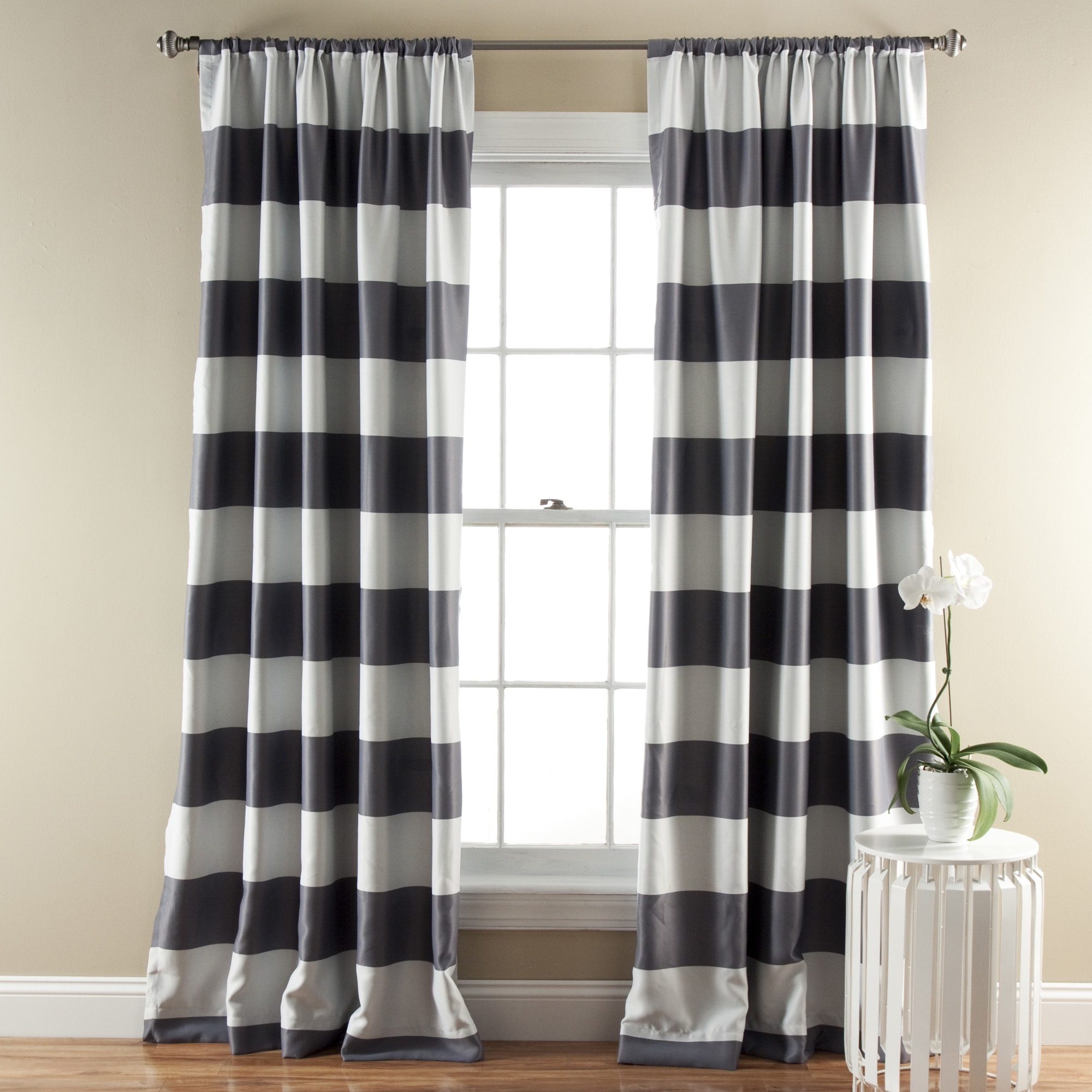 Lush Decor Horizontal Stripe Blackout 84-Inch Curtain Panel Pair - 52 x 84  - Free Shipping Today - Overstock.com - 16685155
