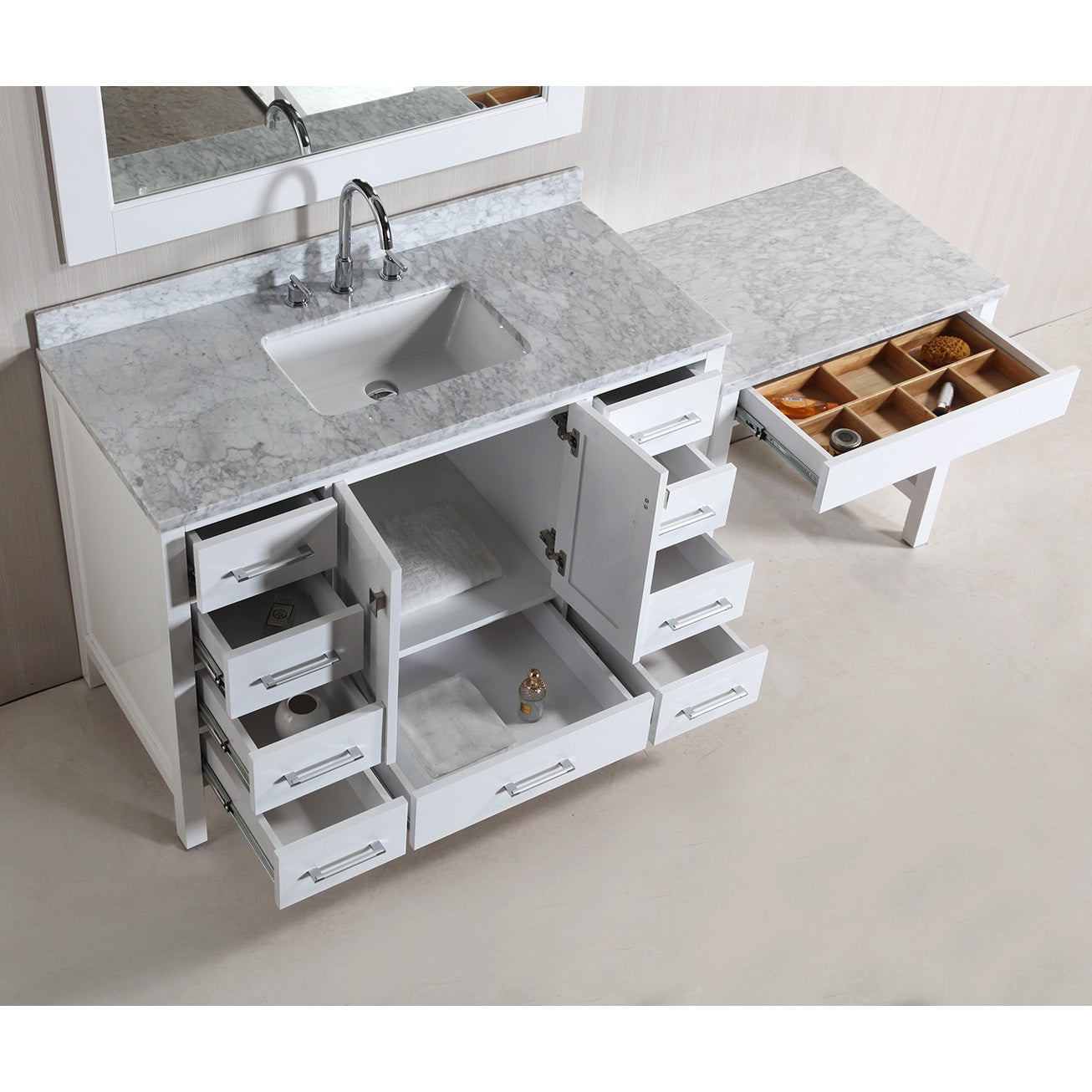 Design Element London 78 Inch Single Sink White Vanity Set With Makeup Table And Bench Seat Free Shipping Today 9505982
