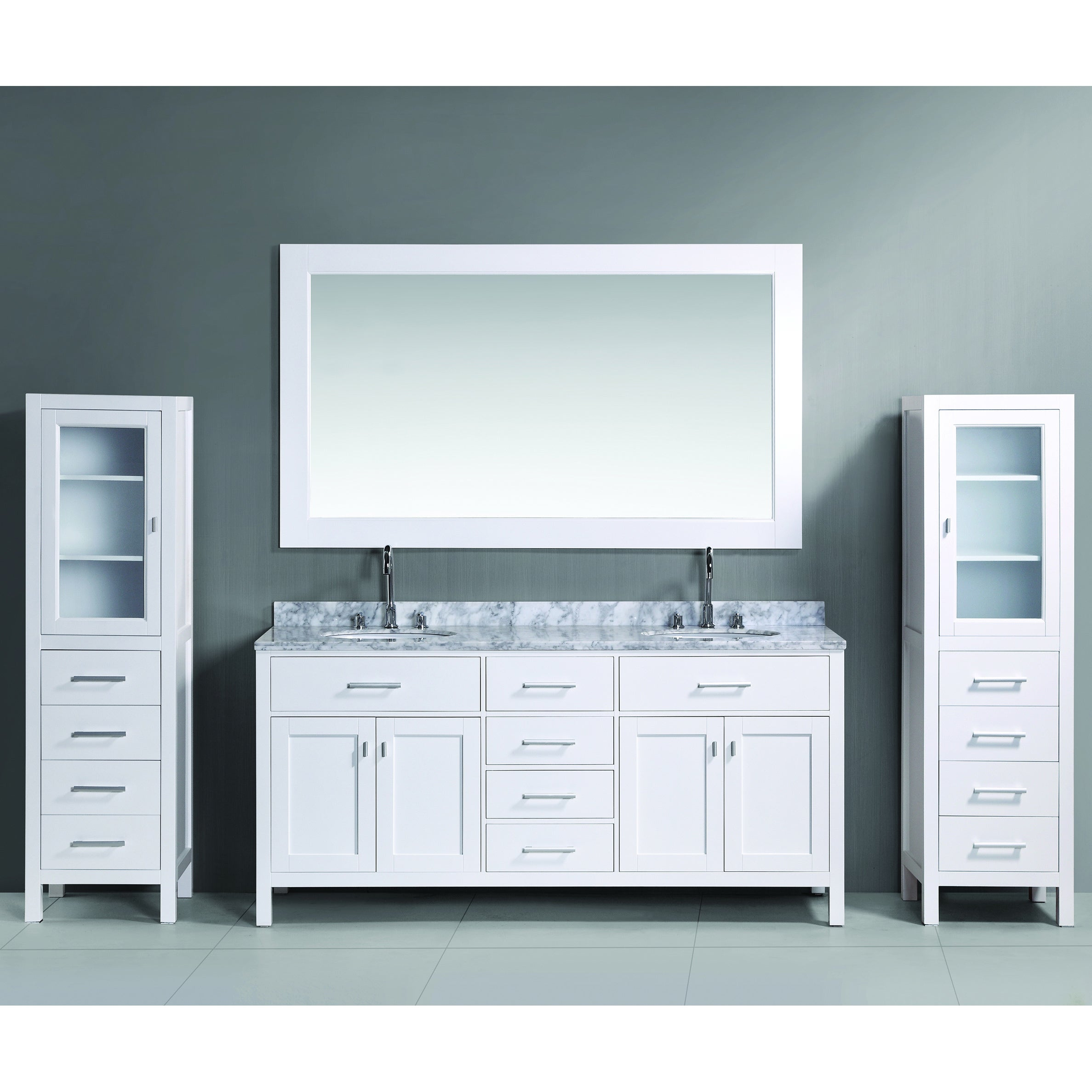 Design Element London 72-inch White Double Sink Vanity Set with Two ...