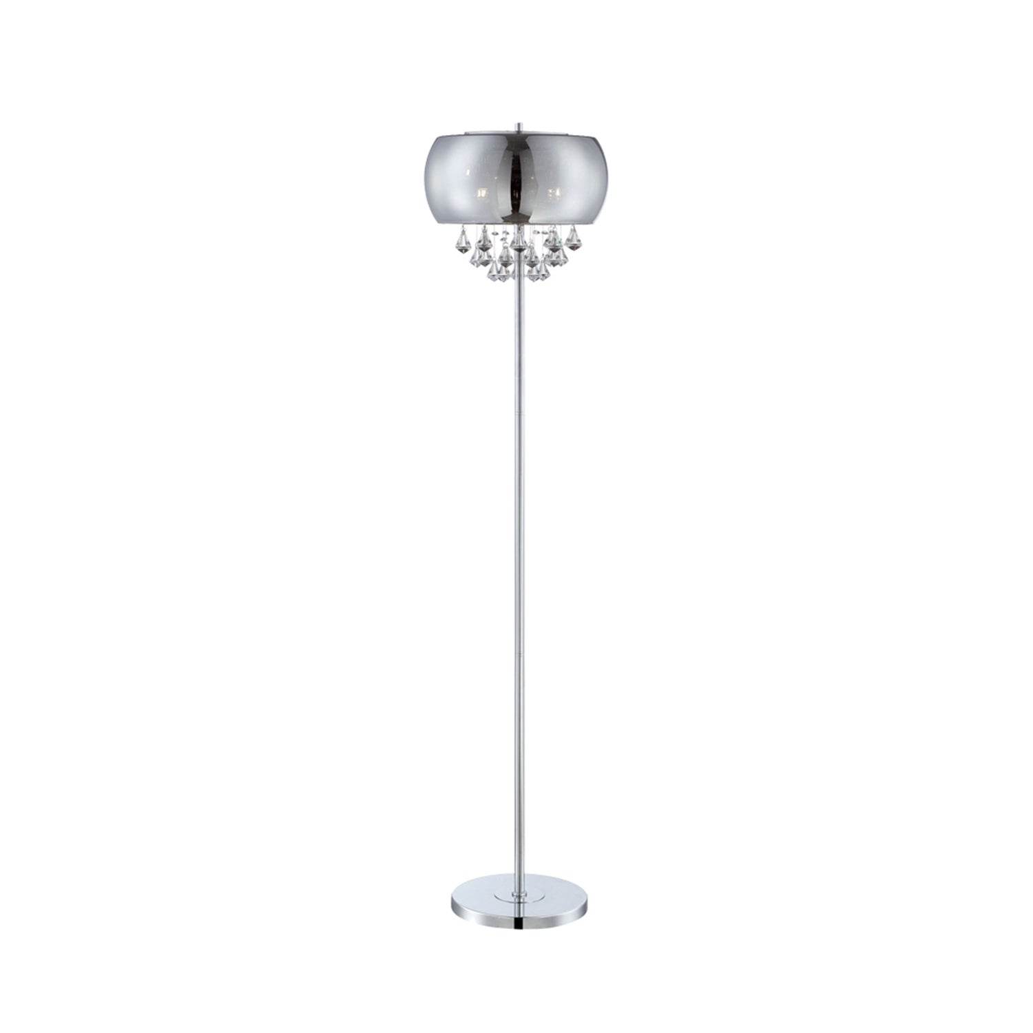 Lite Source 4-light Floor Lamp Chrome with Smoke Mirrored Crystal ...