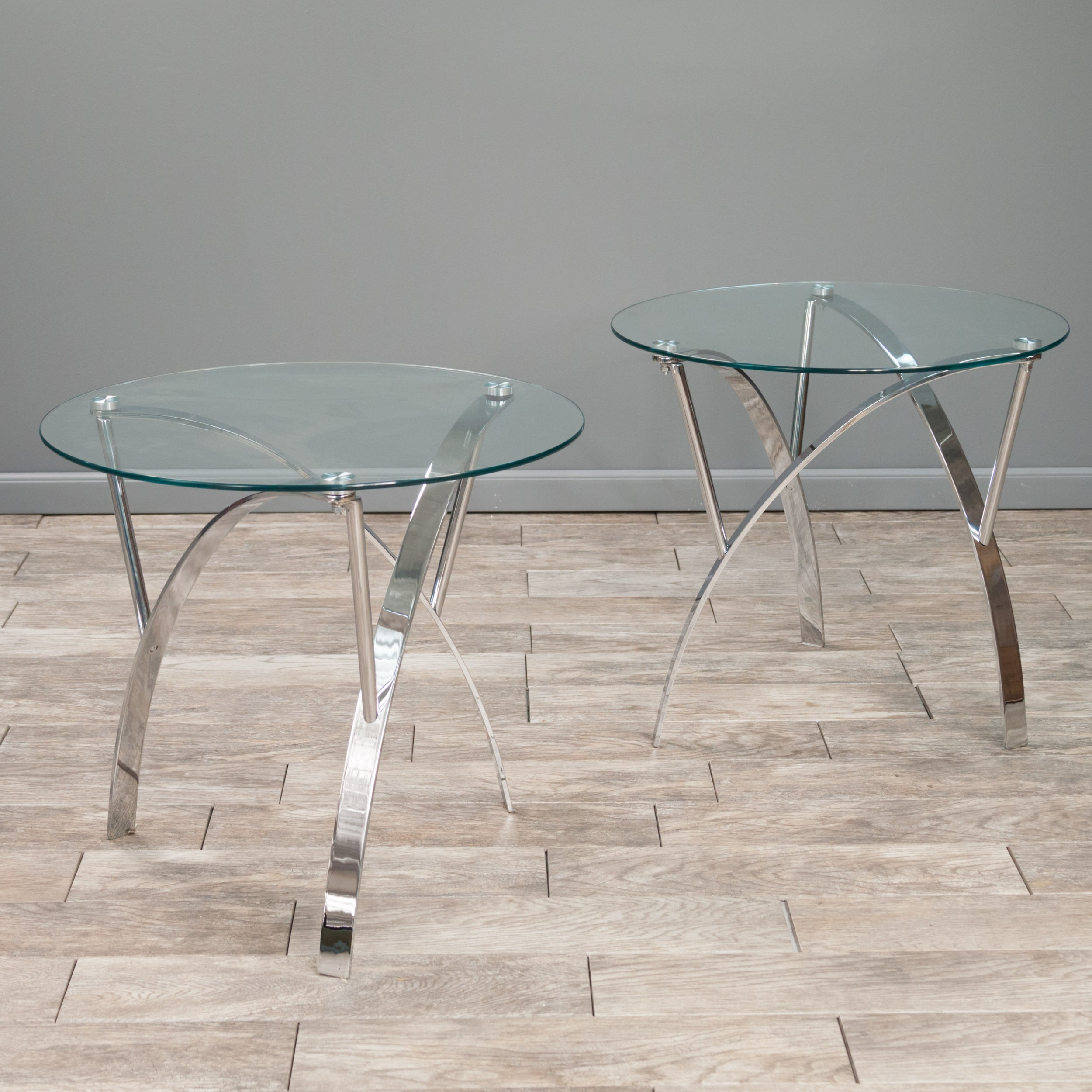 Marin Round Glass End Table (Set Of 2) By Christopher Knight Home   Free  Shipping Today   Overstock   16687192