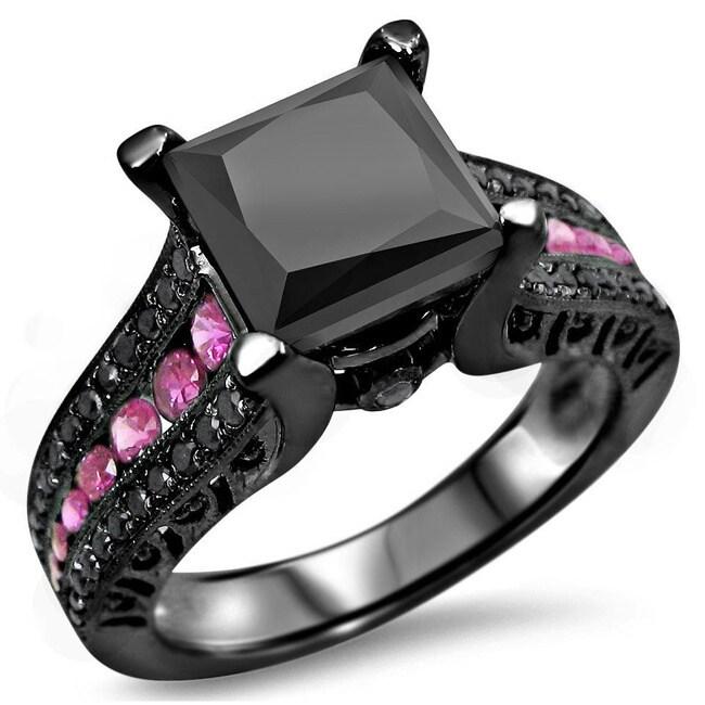 Noori 14k Black Rhodium Gold 3ct Black Diamond Pink Sapphire Engagement Ring    Free Shipping Today   Overstock.com   16687297