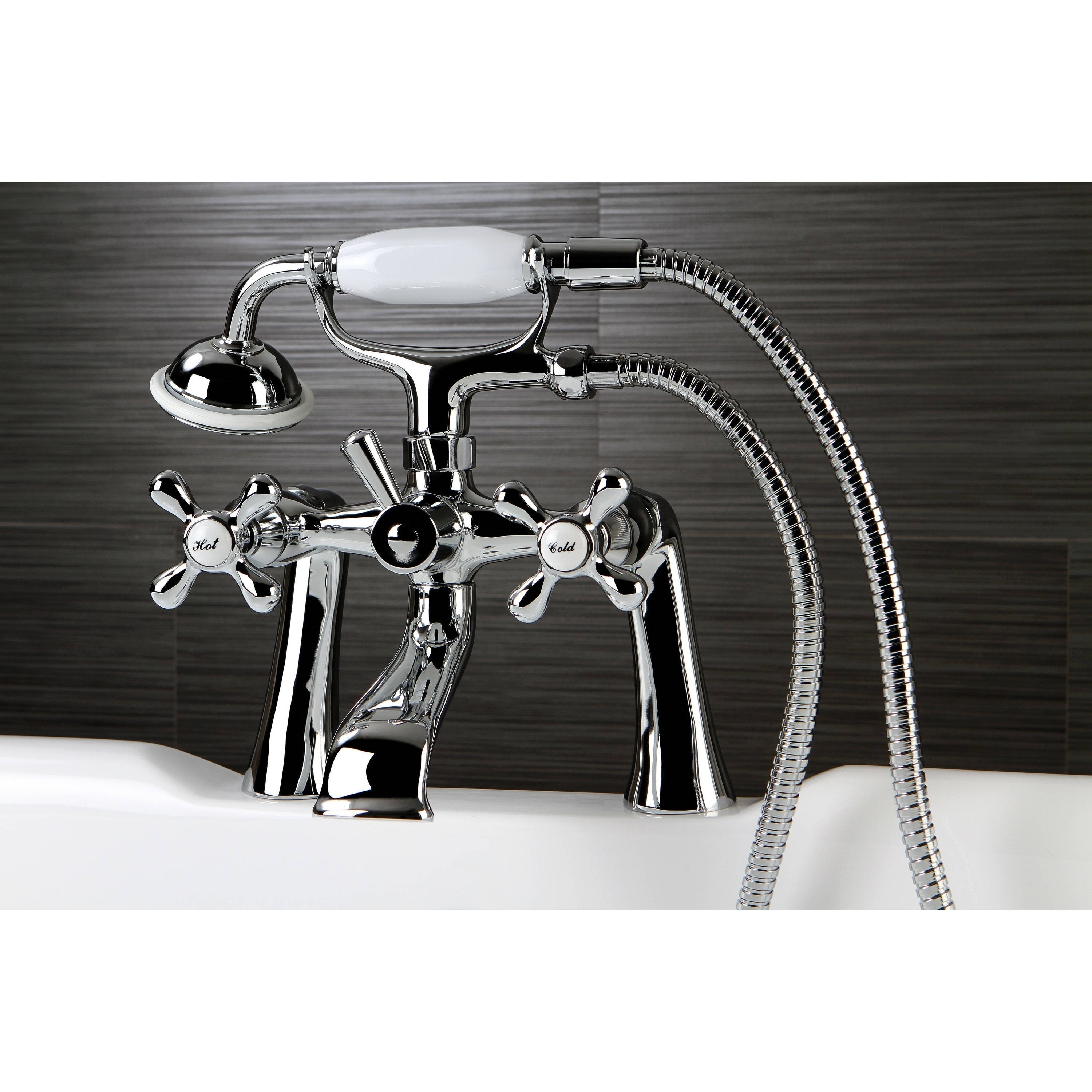Shop Victorian Deck-mount Clawfoot Chrome Tub Faucet with Hand ...