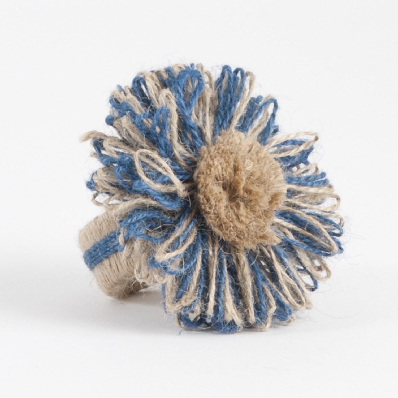 Flower Design Jute Napkin Ring (Set Of 4)  Free