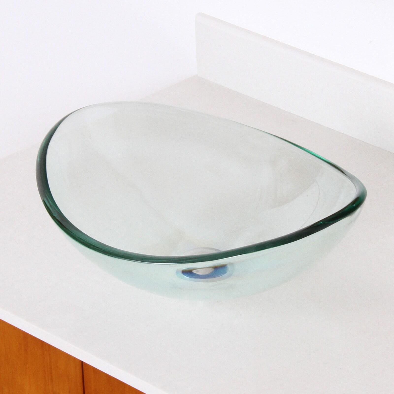 Elite 1418+F22T Unique Oval Transparent Tempered Glass Bathroom ...