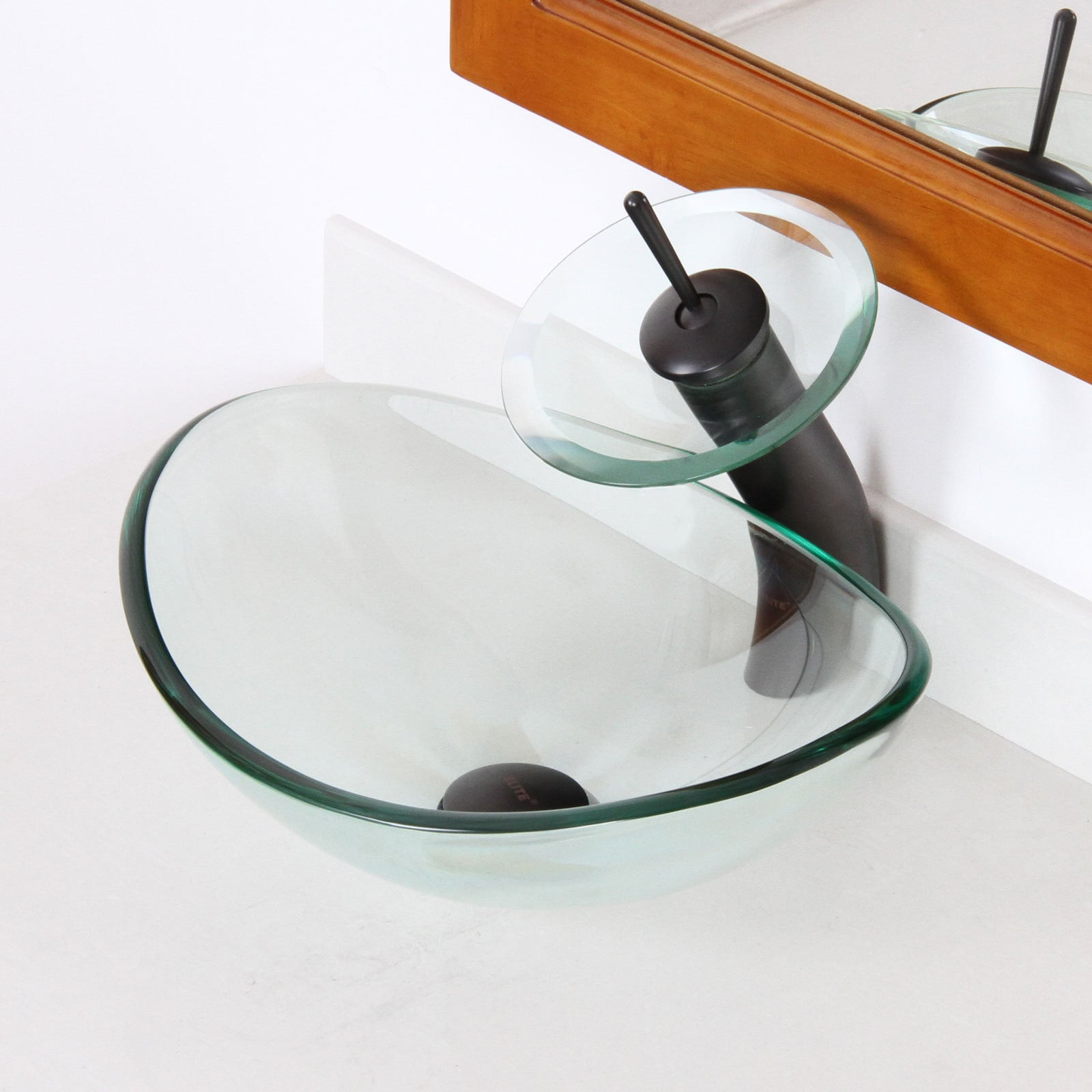 Attrayant Shop Elite 1418+F22T Unique Oval Transparent Tempered Glass Bathroom Vessel  Sink With Waterfall Faucet   Free Shipping Today   Overstock.com   9513841