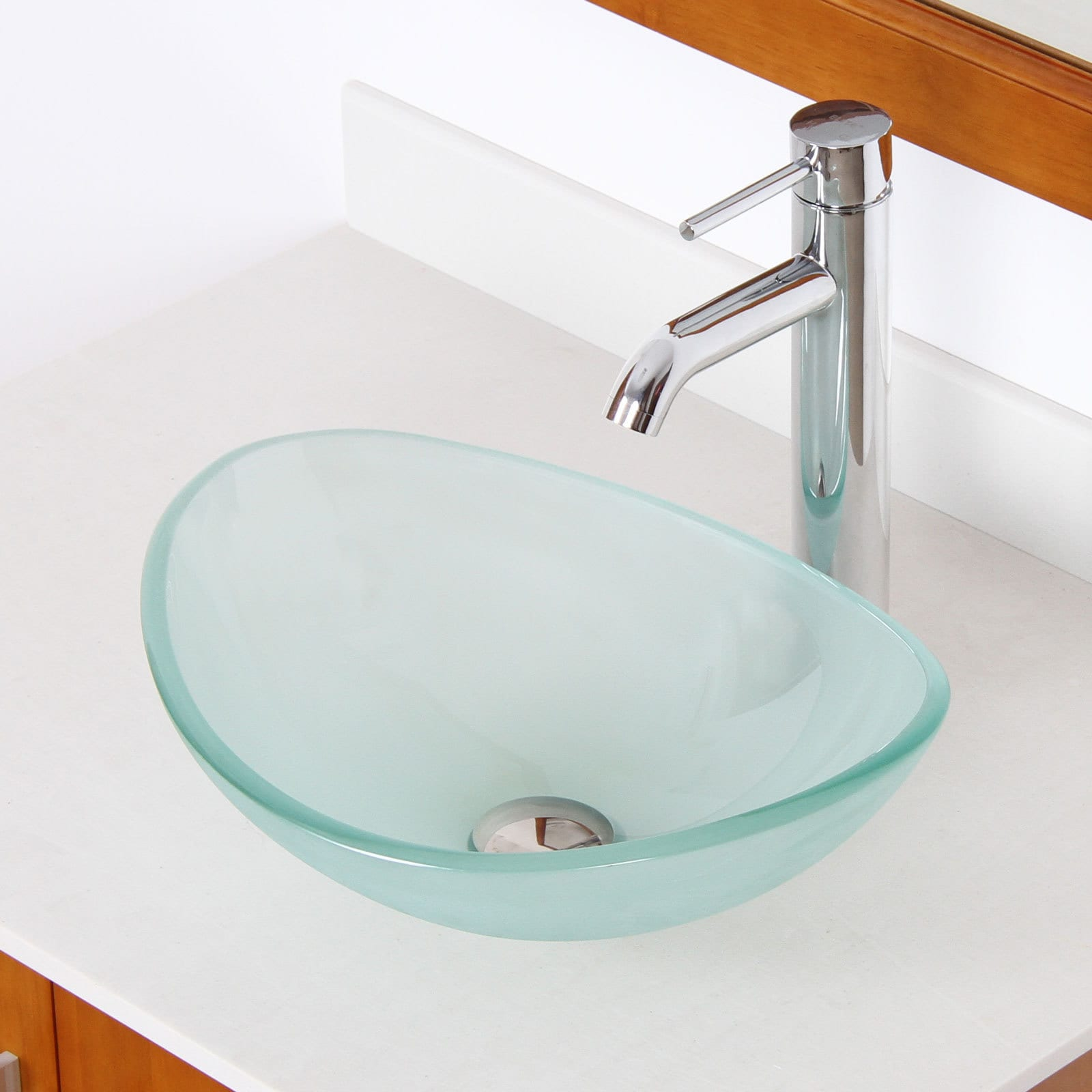 Elite Unique Oval Frosted Tempered Glass Bathroom Vessel Sink With ...