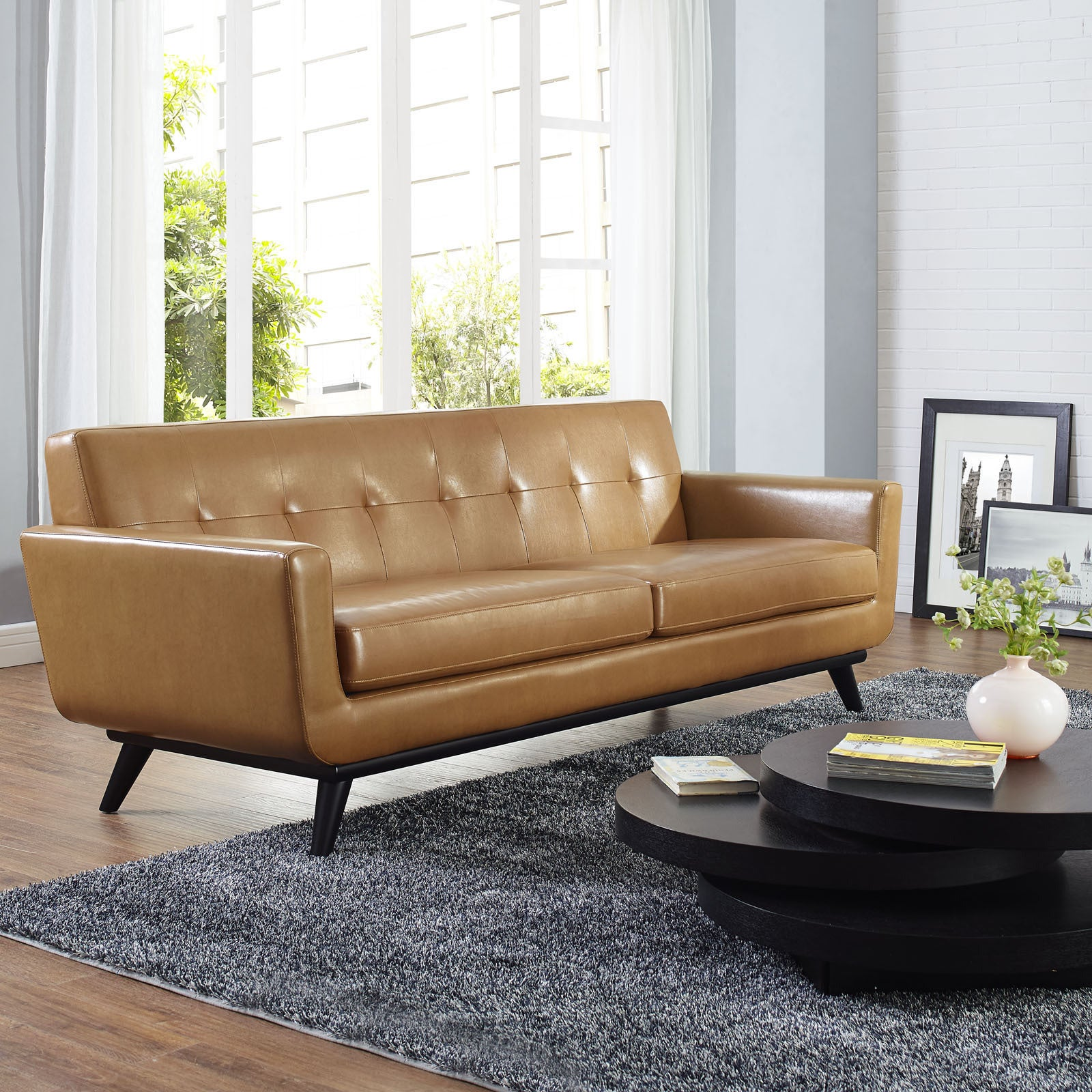 Engage Tan Leather Mid Century Sofa Free Shipping Today  ~ Tan Leather Mid Century Sofa